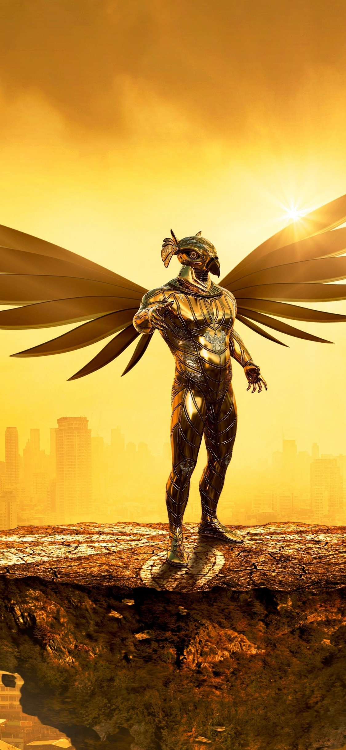 1125x2436 Fantasy, angel, golden, cityscape, digital art,  wallpaper