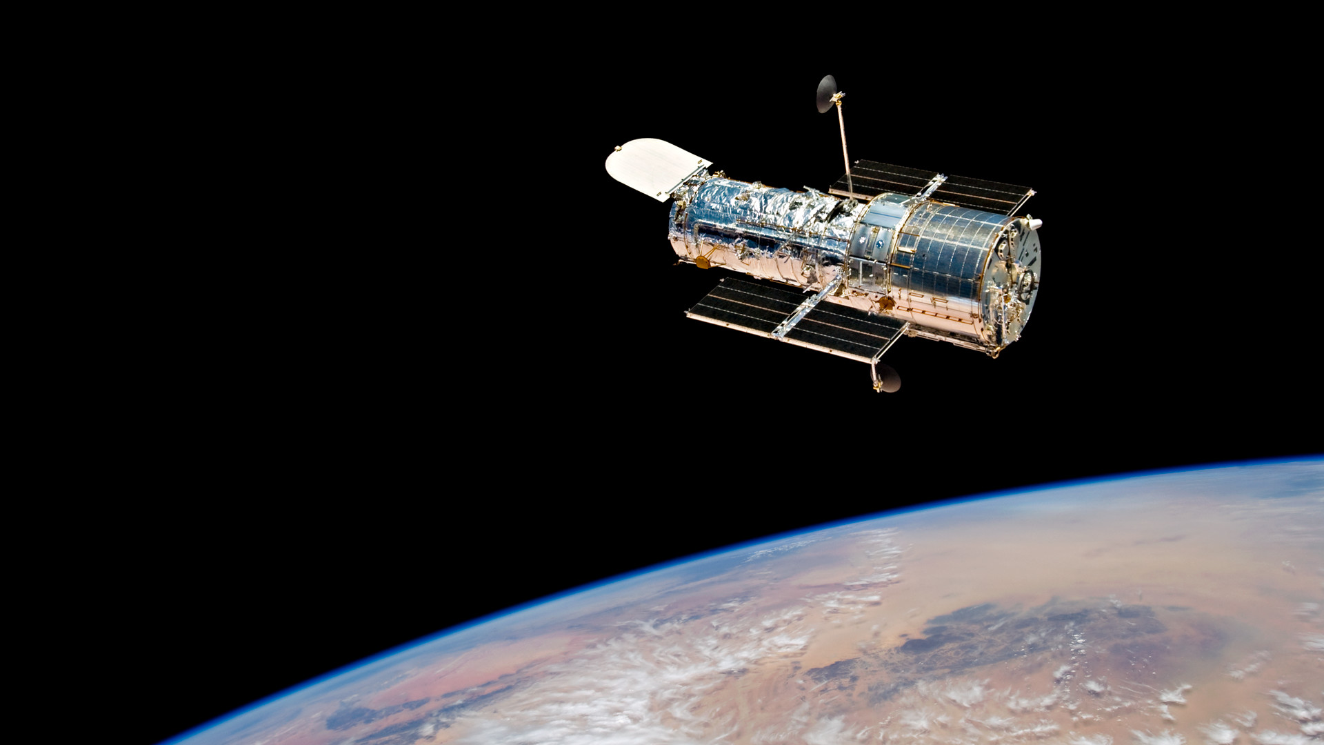 1920x1080 Photograph of Hubble Space Telescope in orbit
