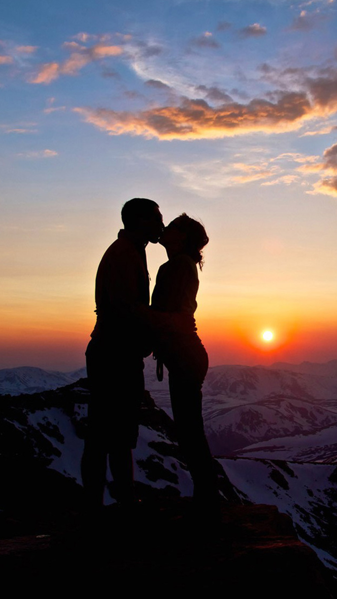 1080x1920 Lover Couple Sunset Snowy Mountain Top Outlines #iPhone #6 #plus #wallpaper