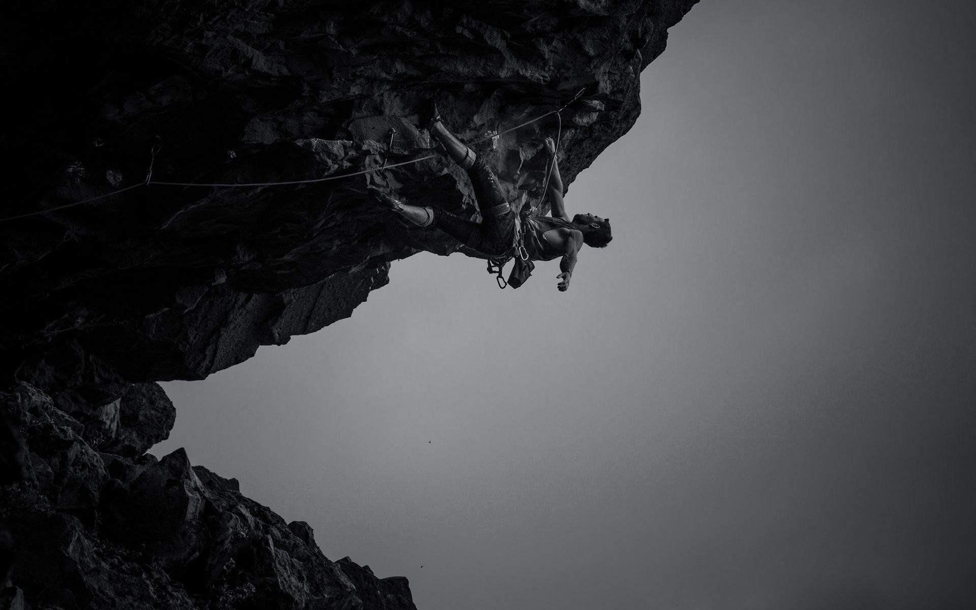 1920x1200 Monochrome Rock Climbing Wallpaper 56283