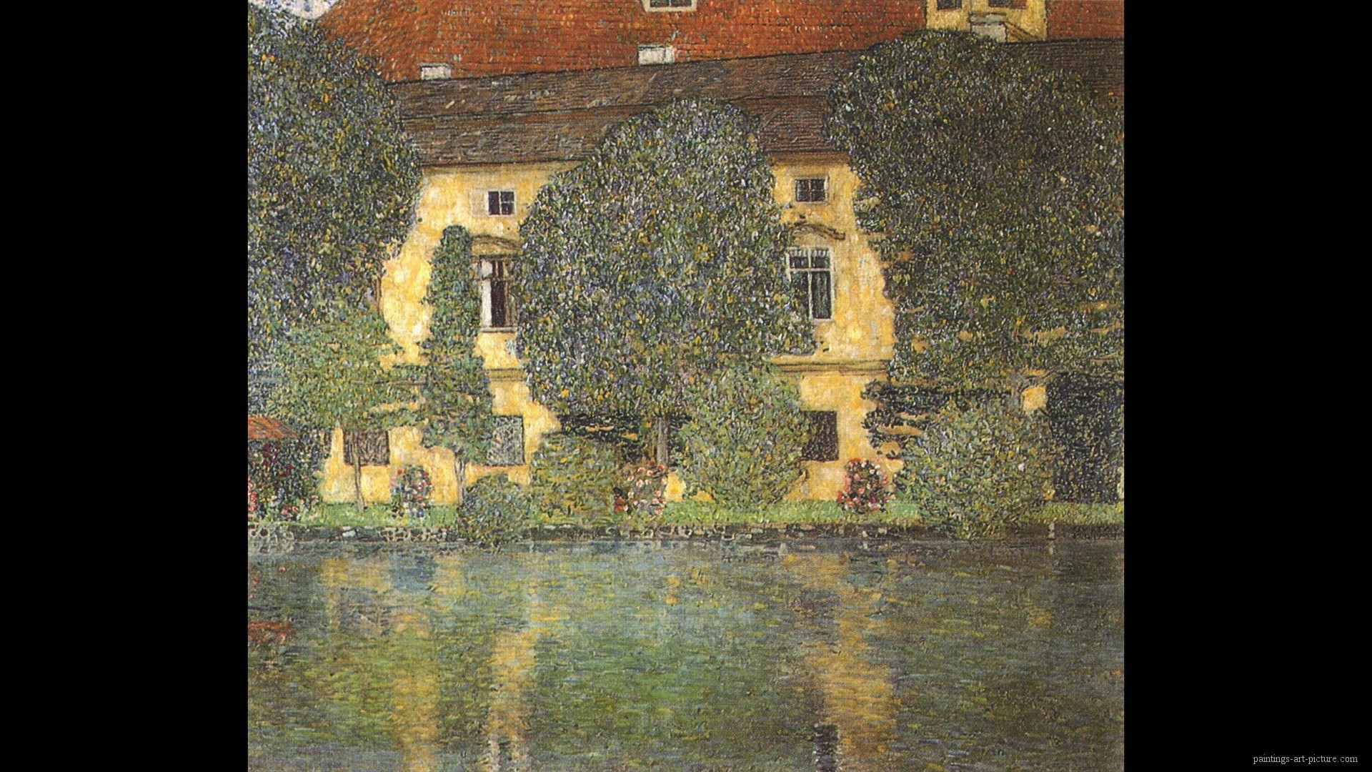 1920x1080 Painting of Gustav Klimt - Schloss kammer attersee