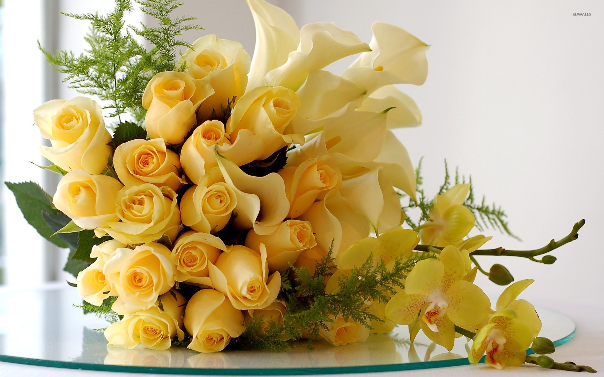 1920x1200 Yellow roses, calla lilies and orchids wallpaper