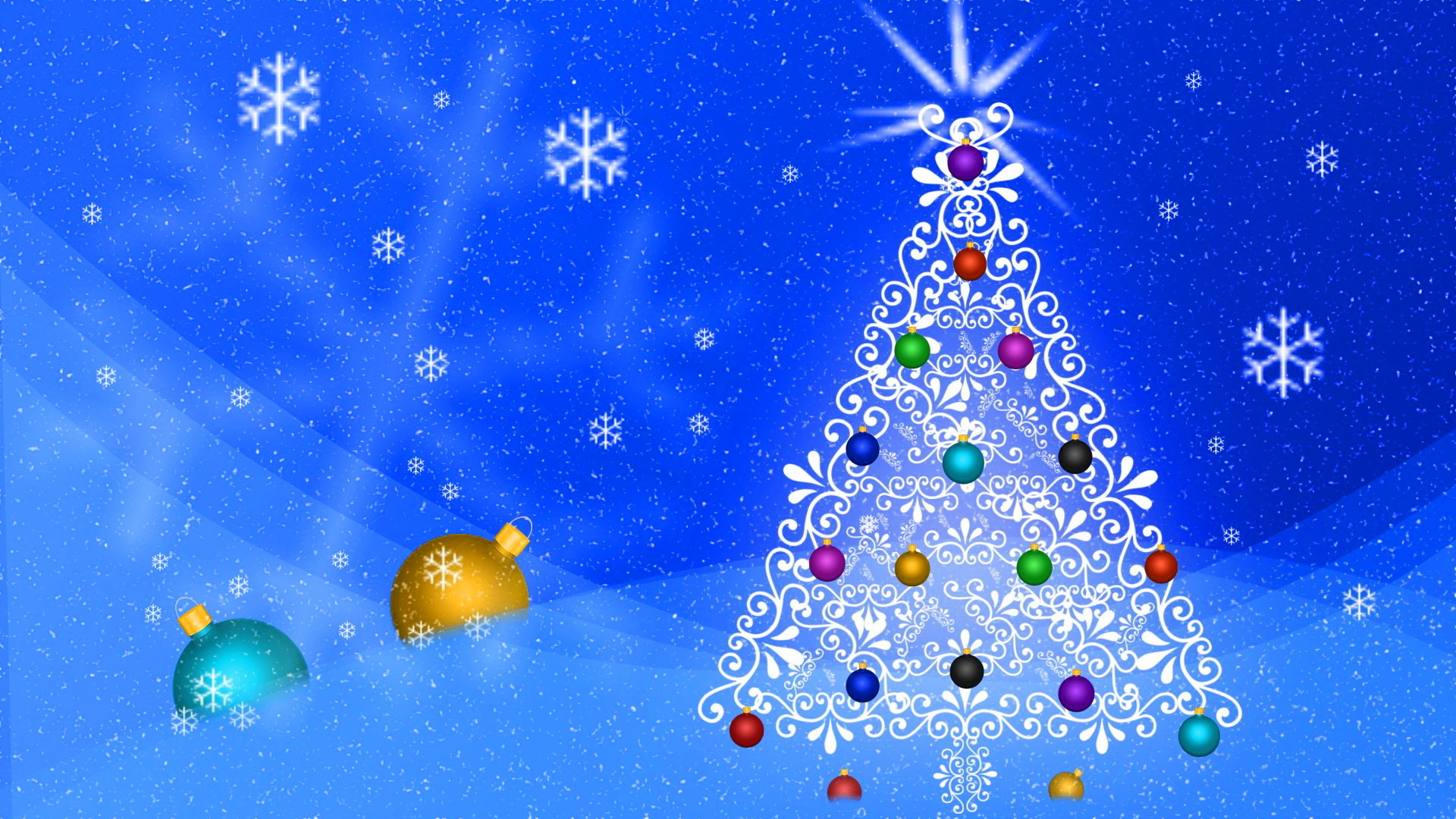 1920x1080 ... Abstract Christmas Tree Blue Background