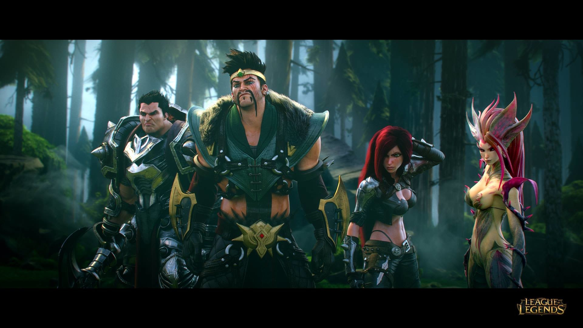 1920x1080 League Of Legends Darius Draven Katarina Zyra Riot Games