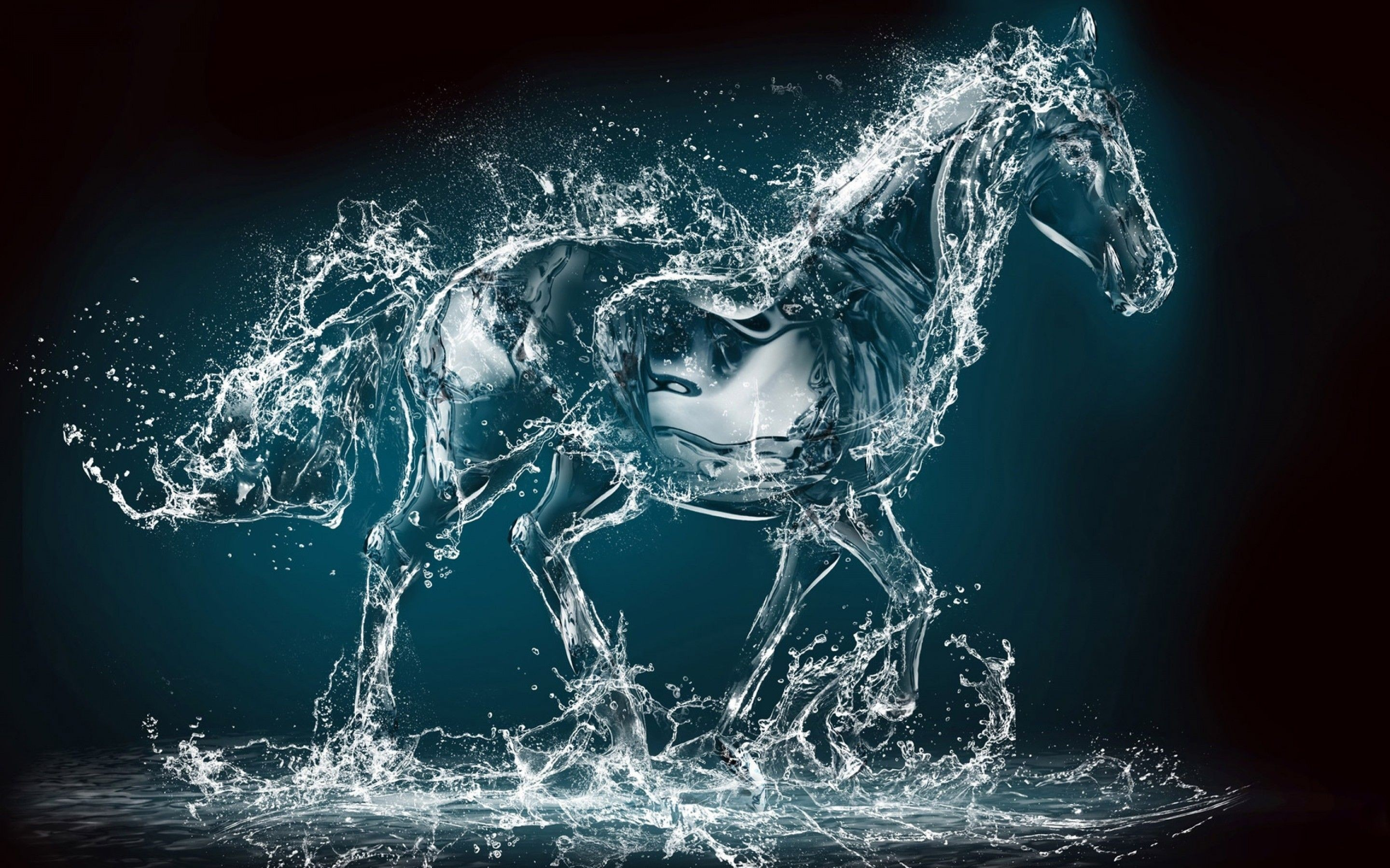 2880x1800 Crisp Hd Rainbow Animals Wallpapers - Most Amazing Painting Ever Water Art  3D Horse HD wallpaper