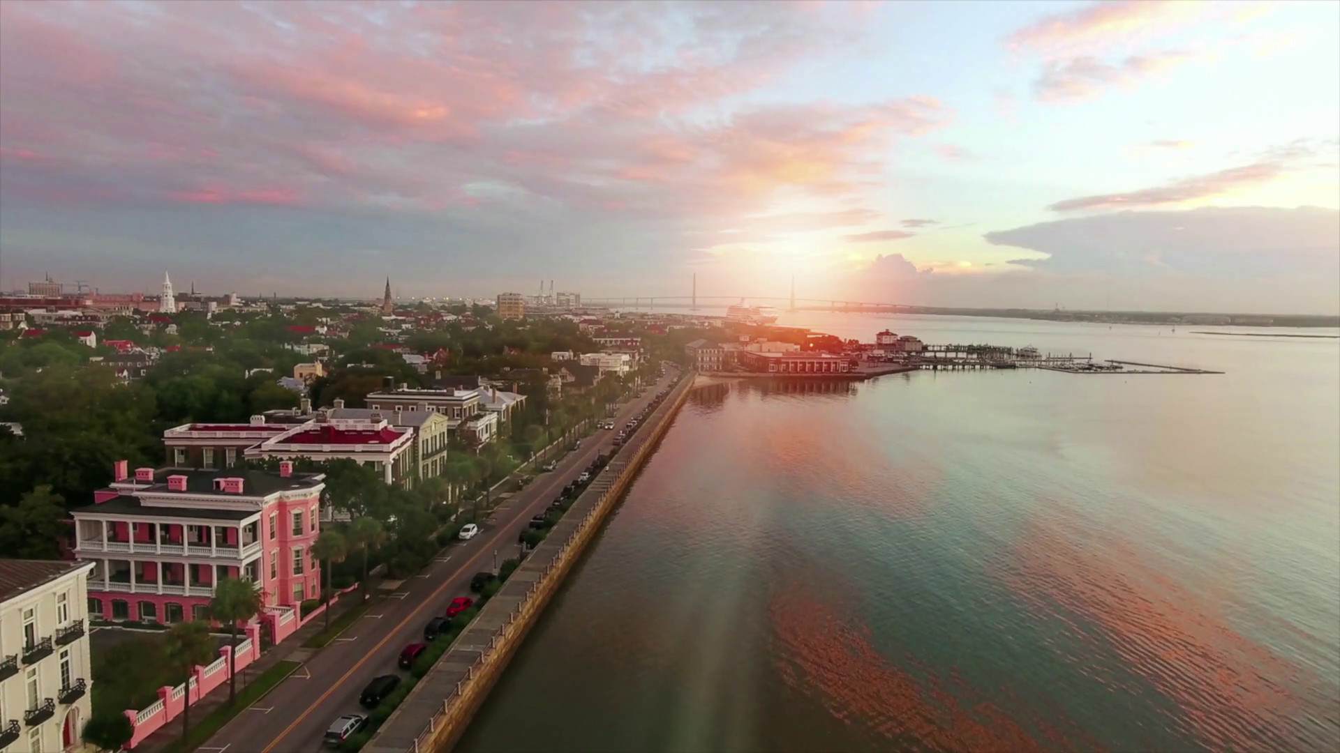 1920x1080 4k cinematic aerial of Charleston SC at sunrise along coast Stock Video  Footage - Storyblocks Video