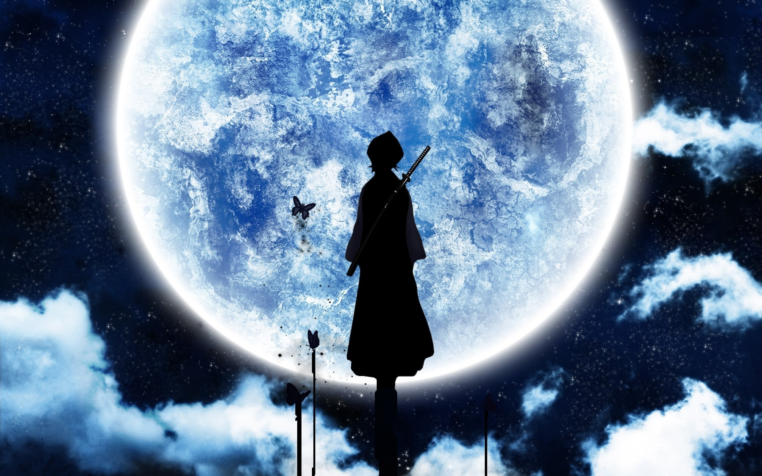 2560x1600 Bleach, Moonlight, Moon, Silhouette, Anime Wallpapers HD / Desktop and  Mobile Backgrounds