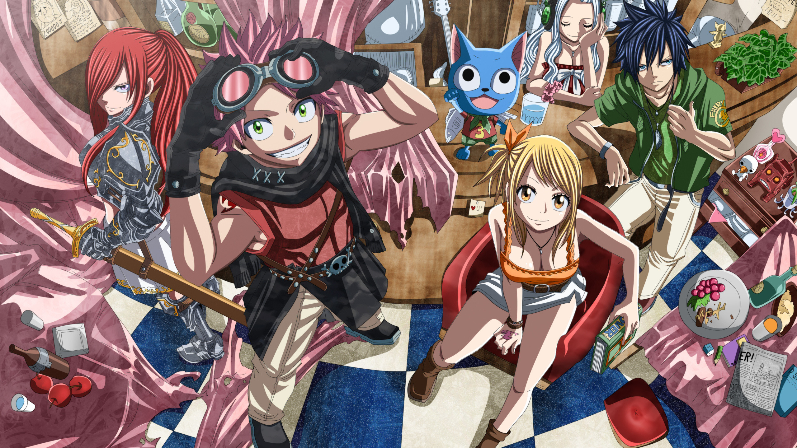 2560x1440 Natsu Dragneel, Futuretabs, Erza Scarlet, Anime, Art, Fairy Tail, Lucy