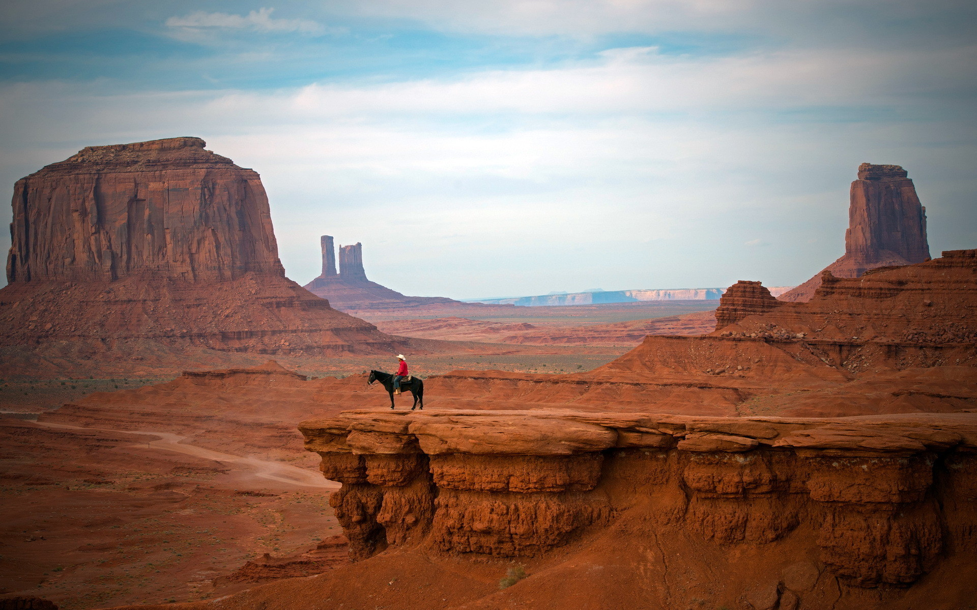 1920x1200 cowboy west hat people places nature landscapes canyon cliffs desert sky  clouds mood wallpaper