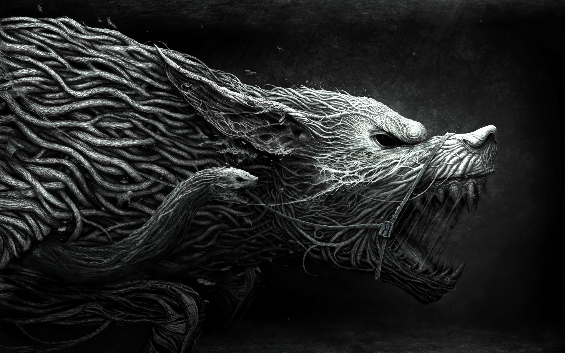 1920x1200 Dark - Werewolf Dark Animal Fantasy Creature Snake Black Creepy Wallpaper