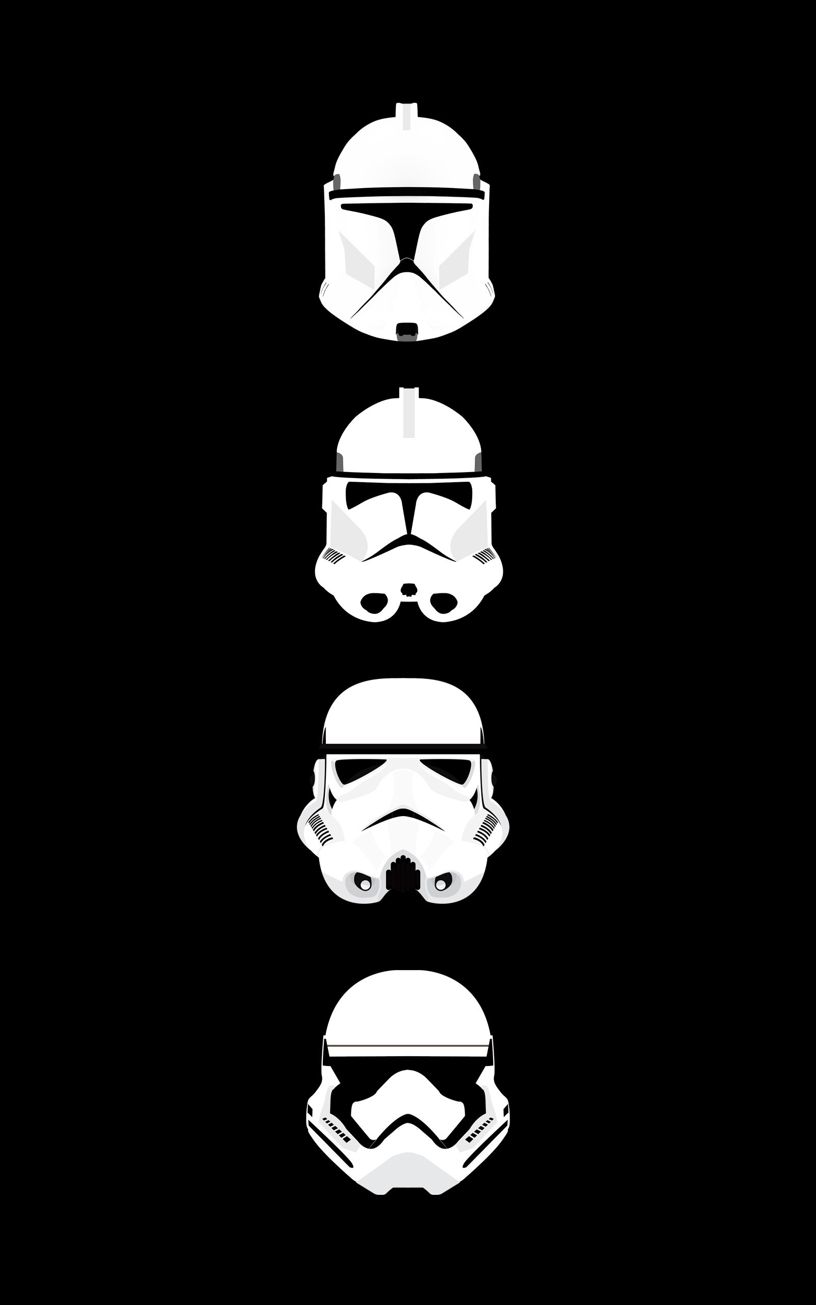 1600x2560 General Star Wars Clone Trooper Stormtrooper Helmet Minimalism Portrait Display