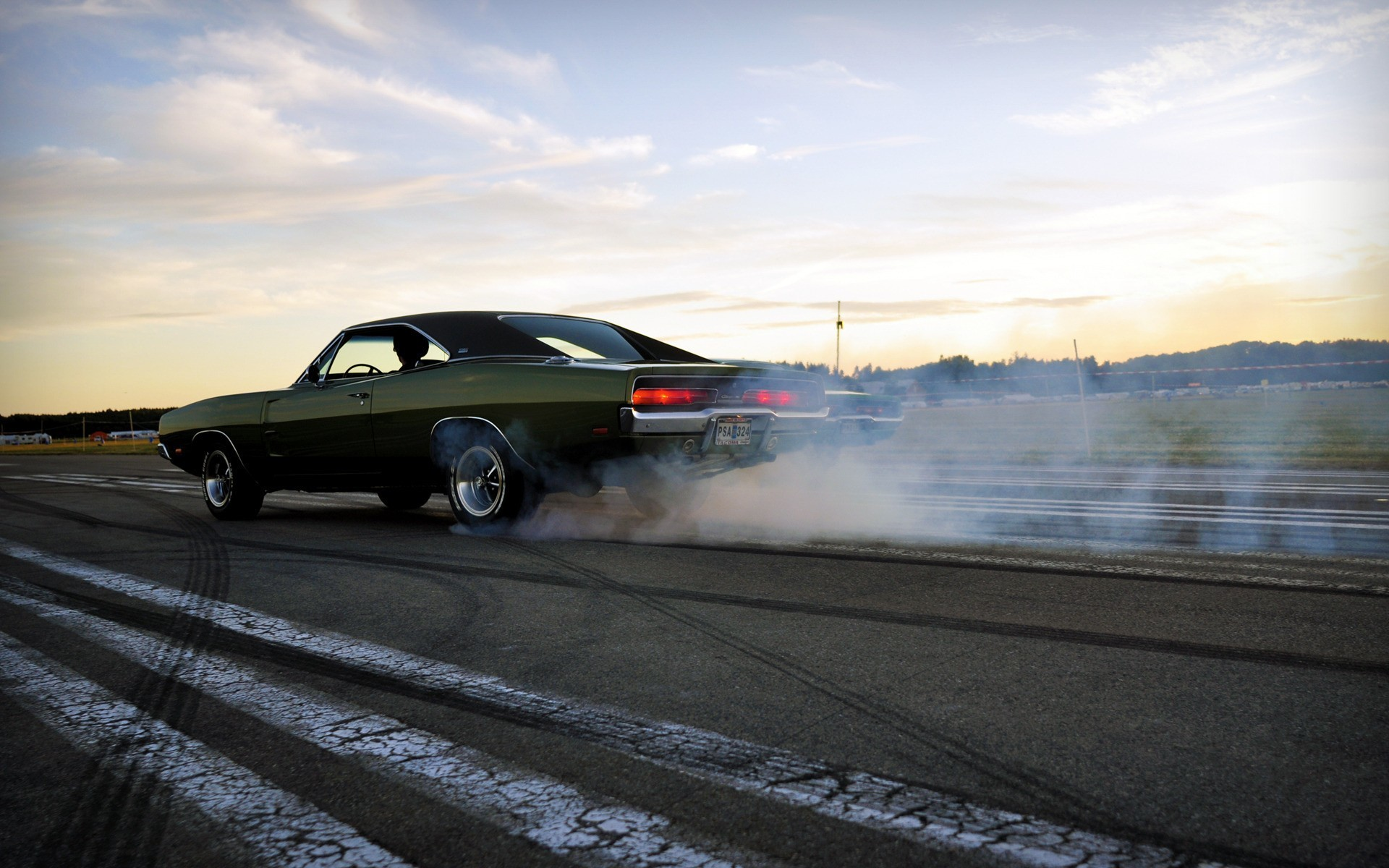 1920x1200 smoke muscle cars drifting cars vehicles burnout Dodge Charger wallpaper