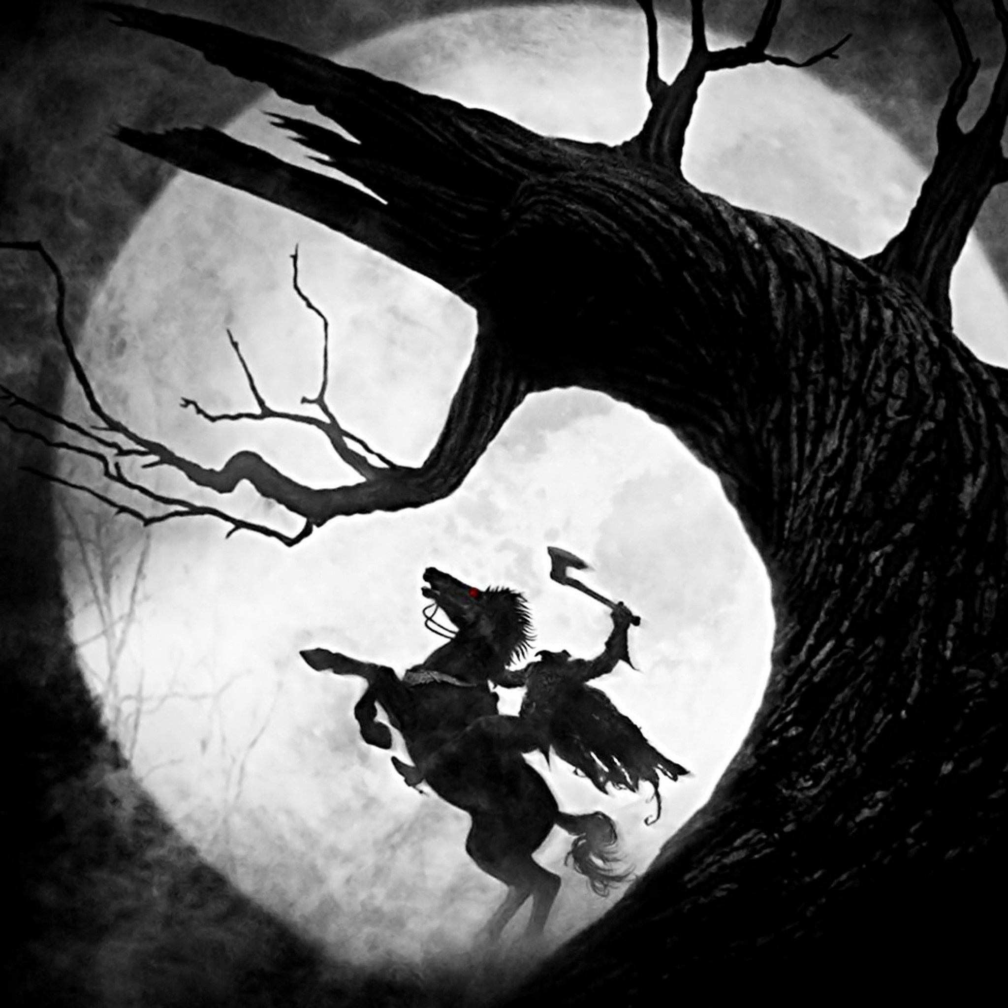 2048x2048  Wallpaper sleepy hollow, headless horseman, moon, tree