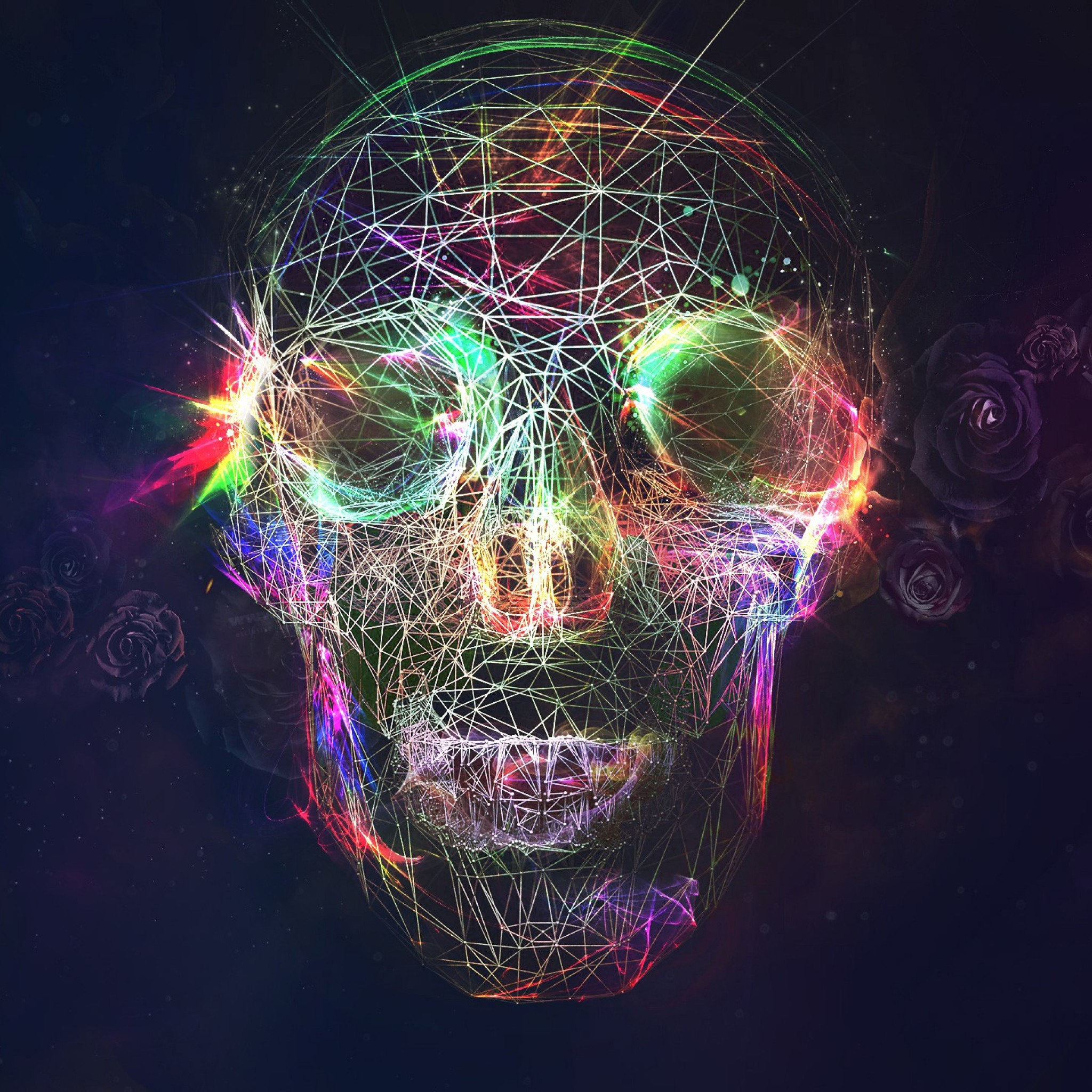 2048x2048 Preview wallpaper skull, abstract, bright, background