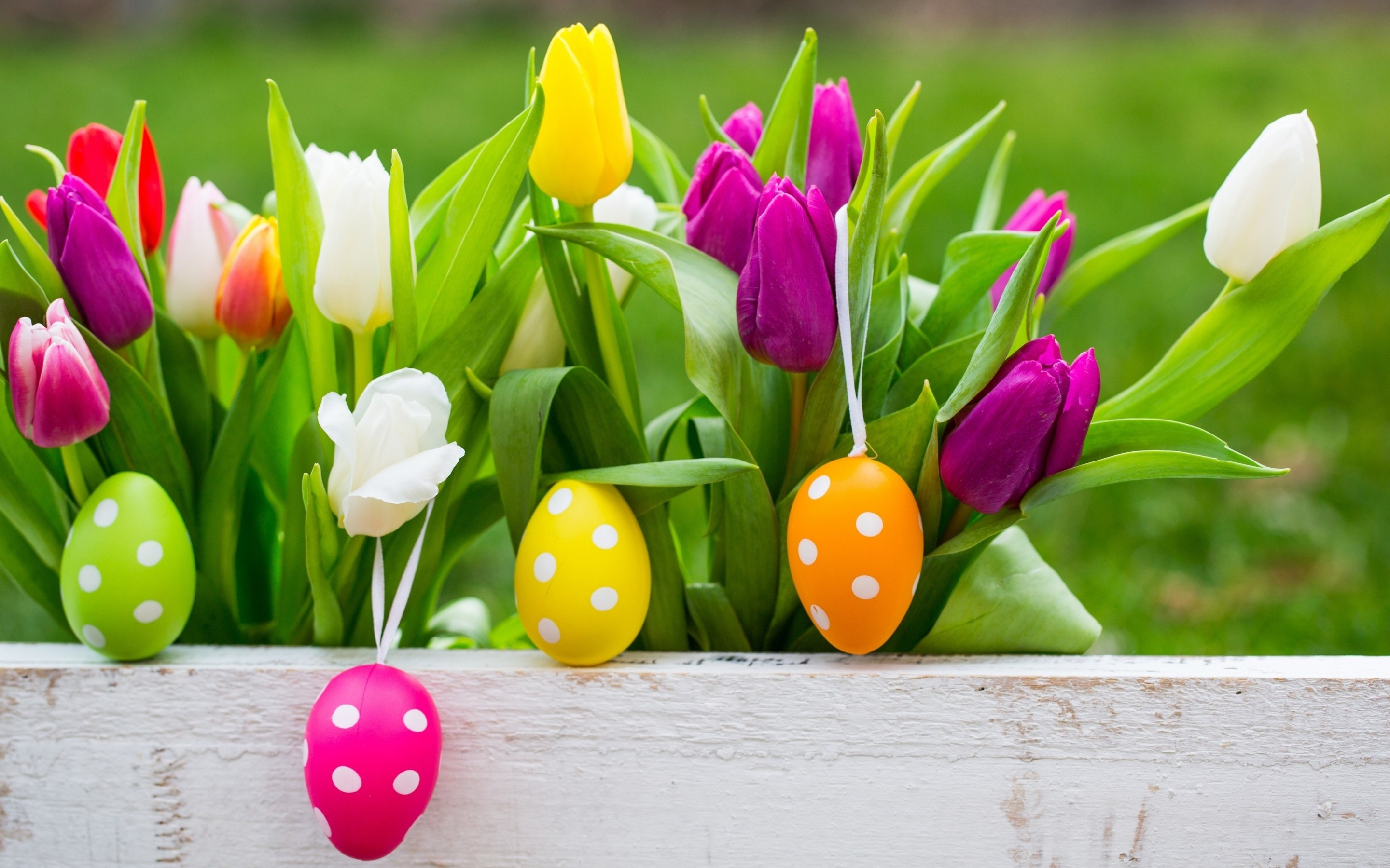2880x1800 Easter Eggs On Flowers Background Wallpapers -  - 1042192