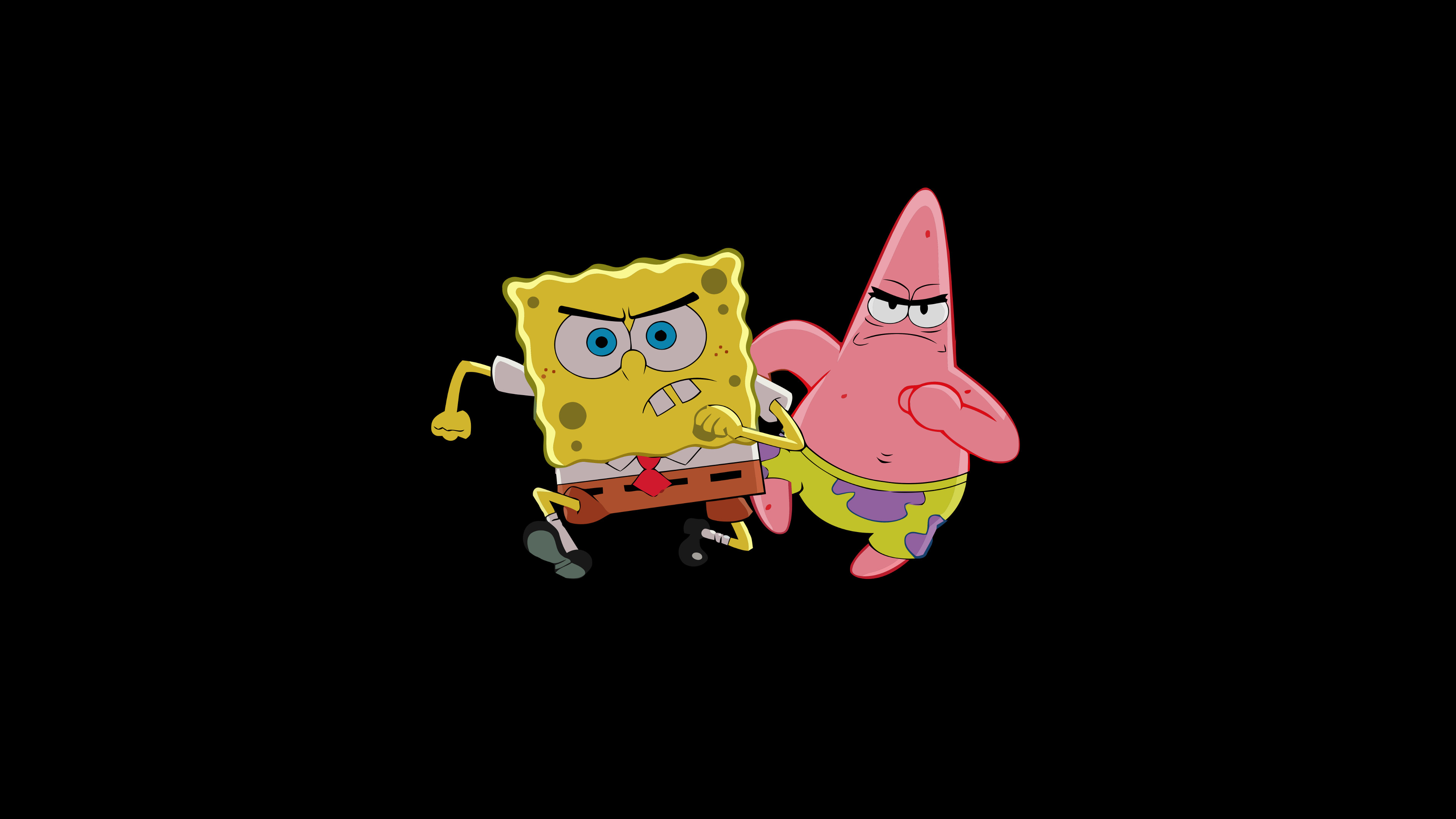 3840x2160 General  simple simple background black background SpongeBob  SquarePants Patrick Star