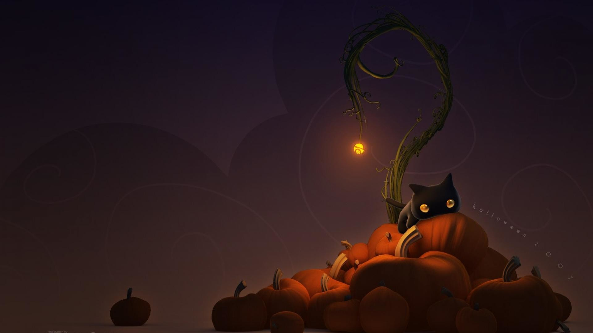 Captivating 1920x1080 Black Cat Pumpkin Halloween Wallpaper #4956 Wallpaper Themes ... Black  Cat Pumpkin