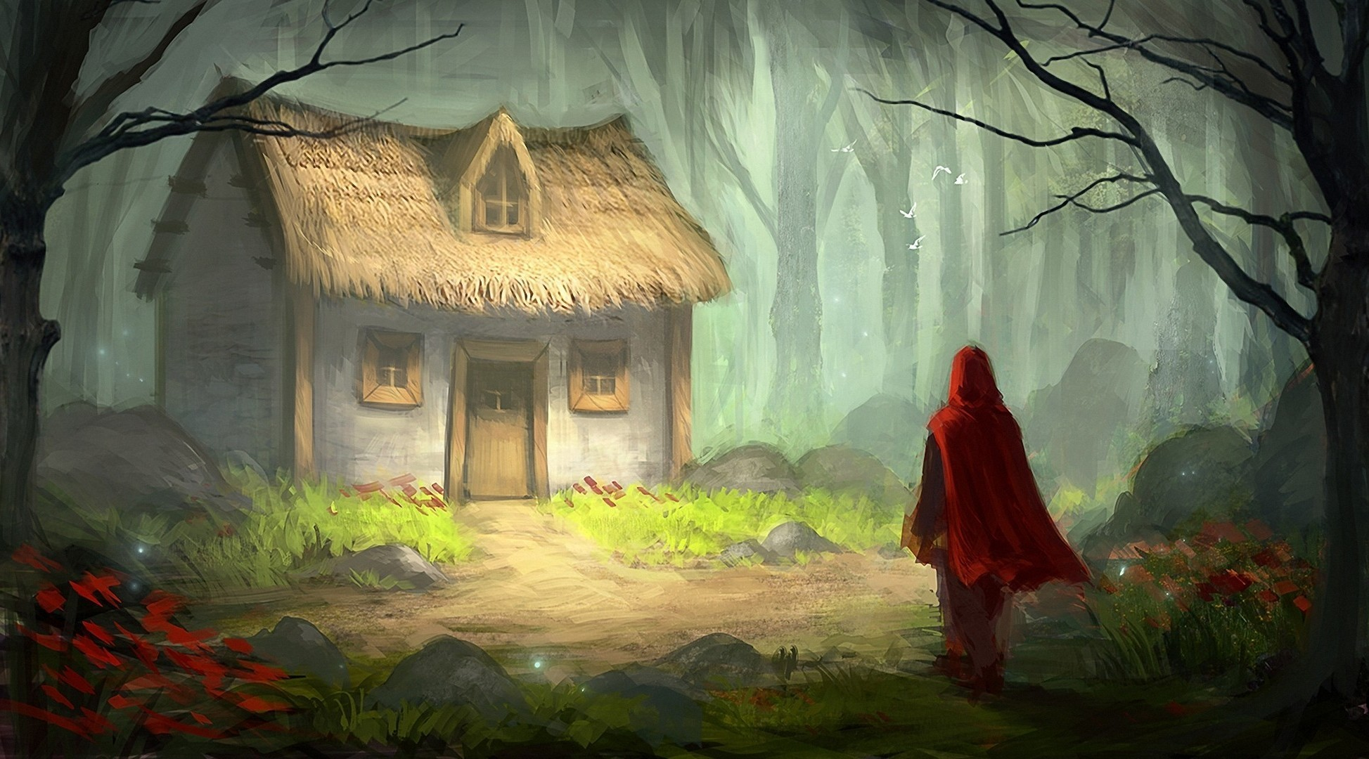 1947x1080 digital Art, Fantasy Art, Fairy Tale, Little Red Riding Hood, Trees,  Forest, House, Painting, Grass, Stones, Flowers Wallpapers HD / Desktop and  Mobile ...