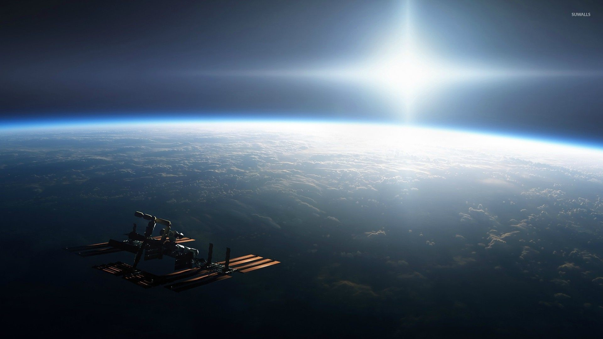 1920x1080 International Space Station orbiting Earth wallpaper