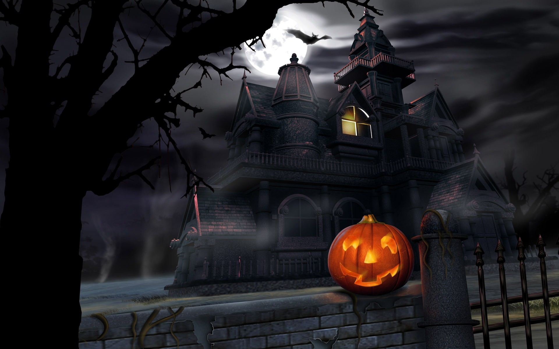 1920x1200 Haunted House Pumpkin desktop wallpaper