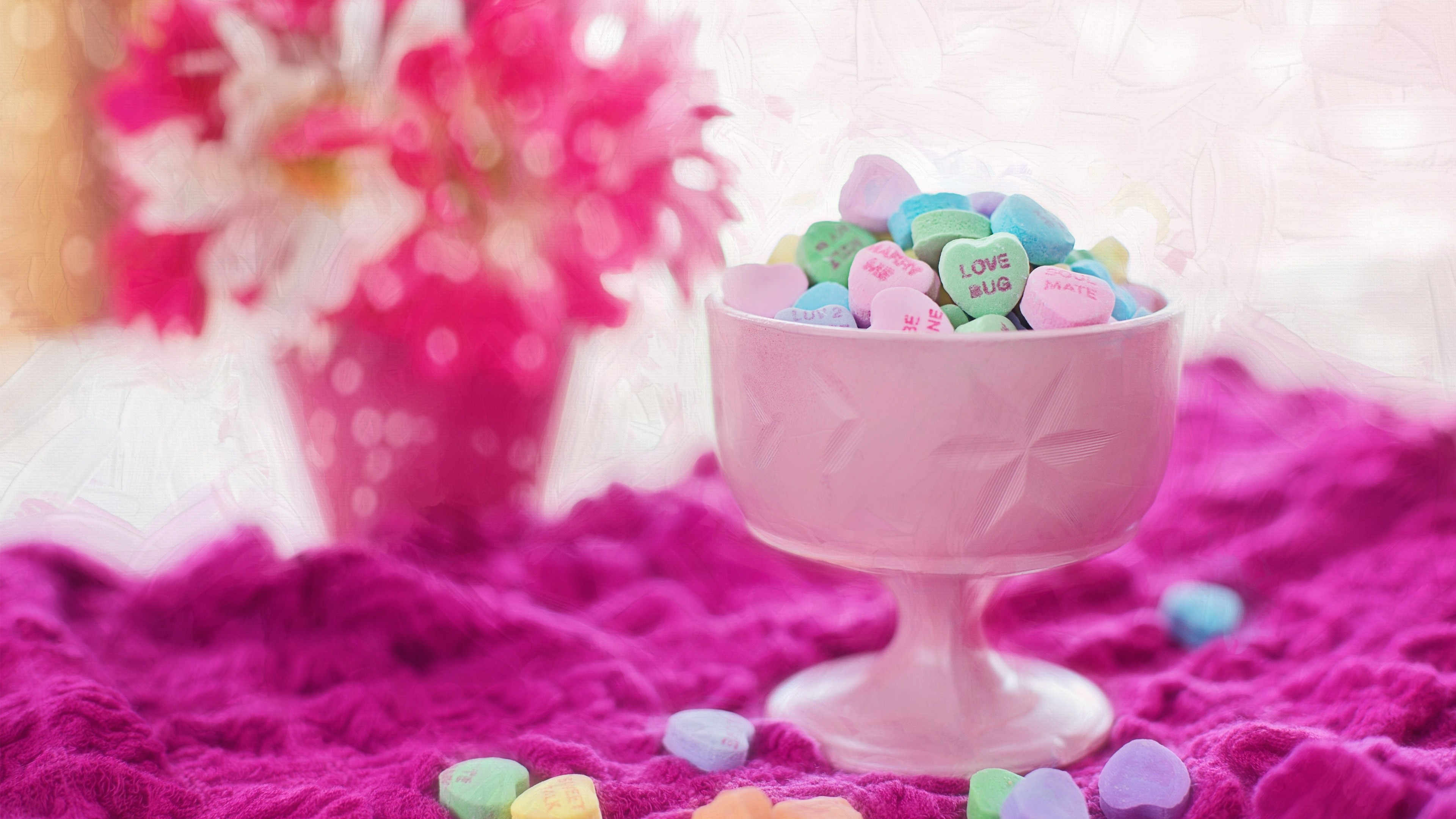 3840x2160 Valentine Love Hearts Candies Wallpapers