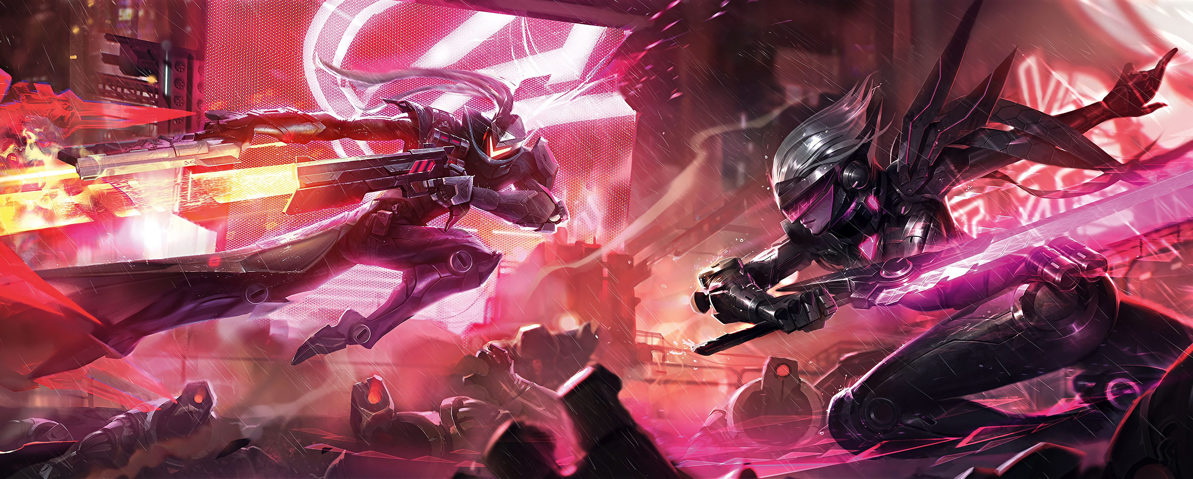 3840x1544 PROJECT Lucian & Fiora Splash Art League of Legends Artwork Wallpaper lol