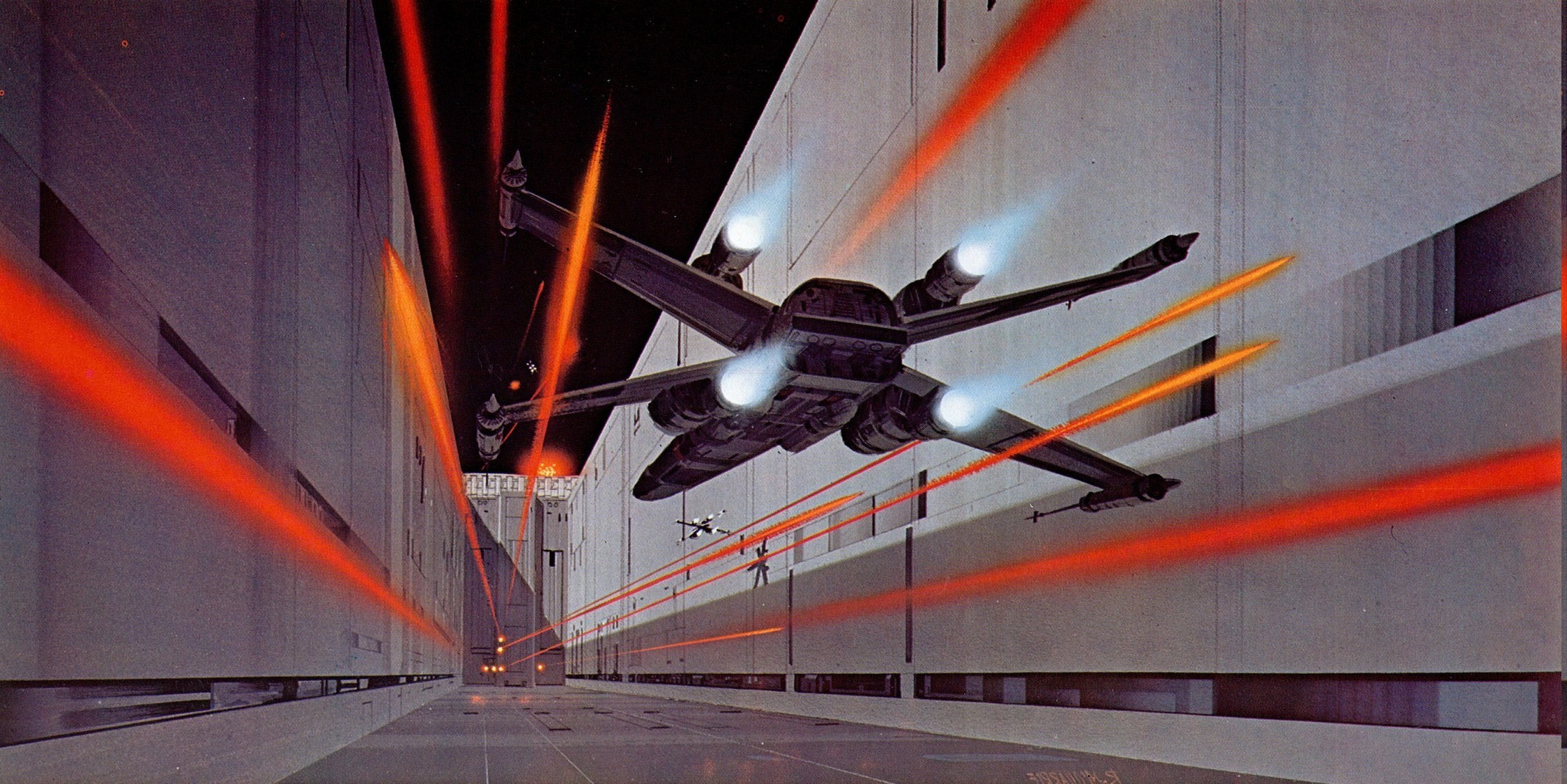 2248x1126 Star Wars, Death Star, X wing, Artwork, Painting, Ralph McQuarrie Wallpapers  HD / Desktop and Mobile Backgrounds