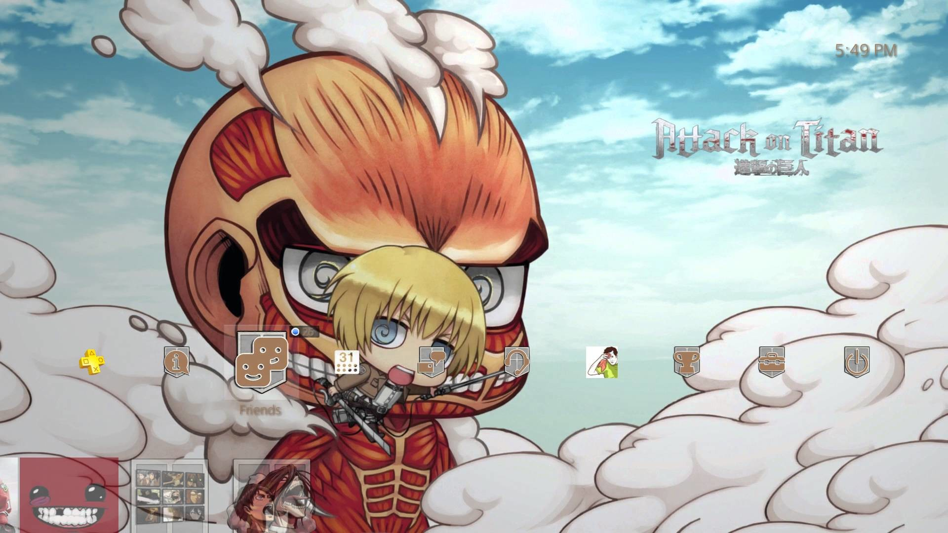 1920x1080 [NA] Attack on Titan Chibi Titan [Audio Fixed] [PS4 Theme]