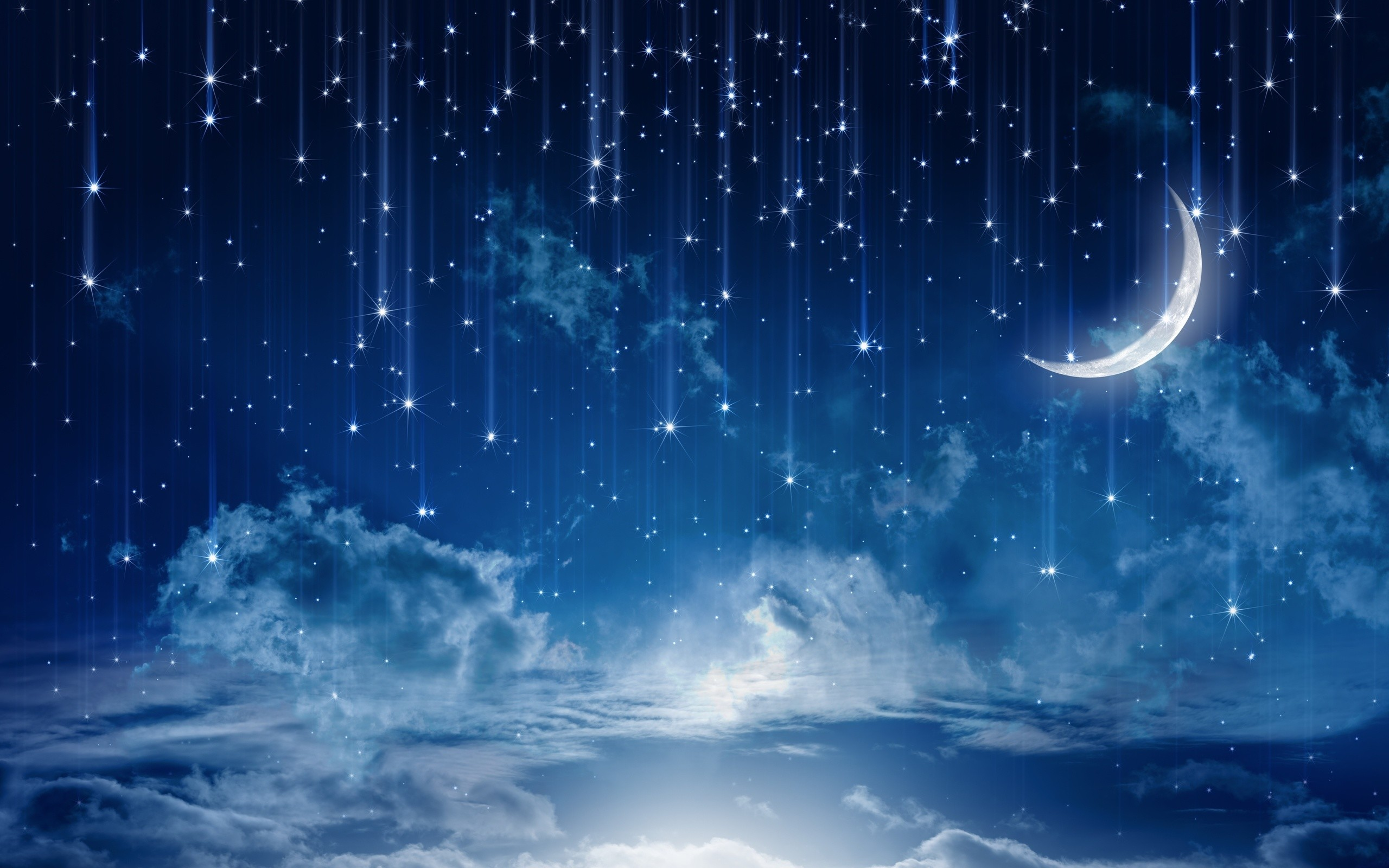 2560x1600 sky moonlight nature night stars clouds rain landscape moon wallpaper .