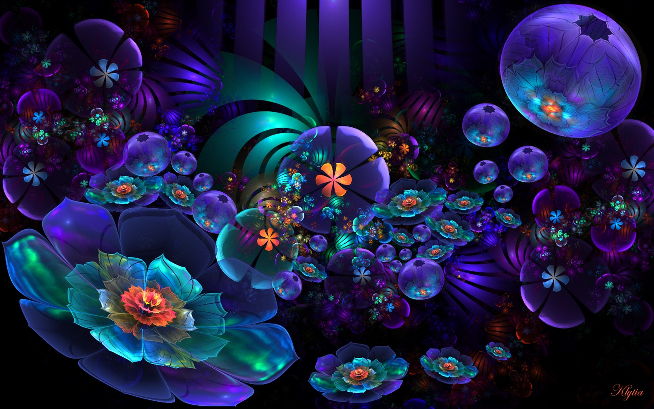 2560x1600 View, download, comment, and rate this  Neon Flower Abstract  Wallpaper - Wallpaper