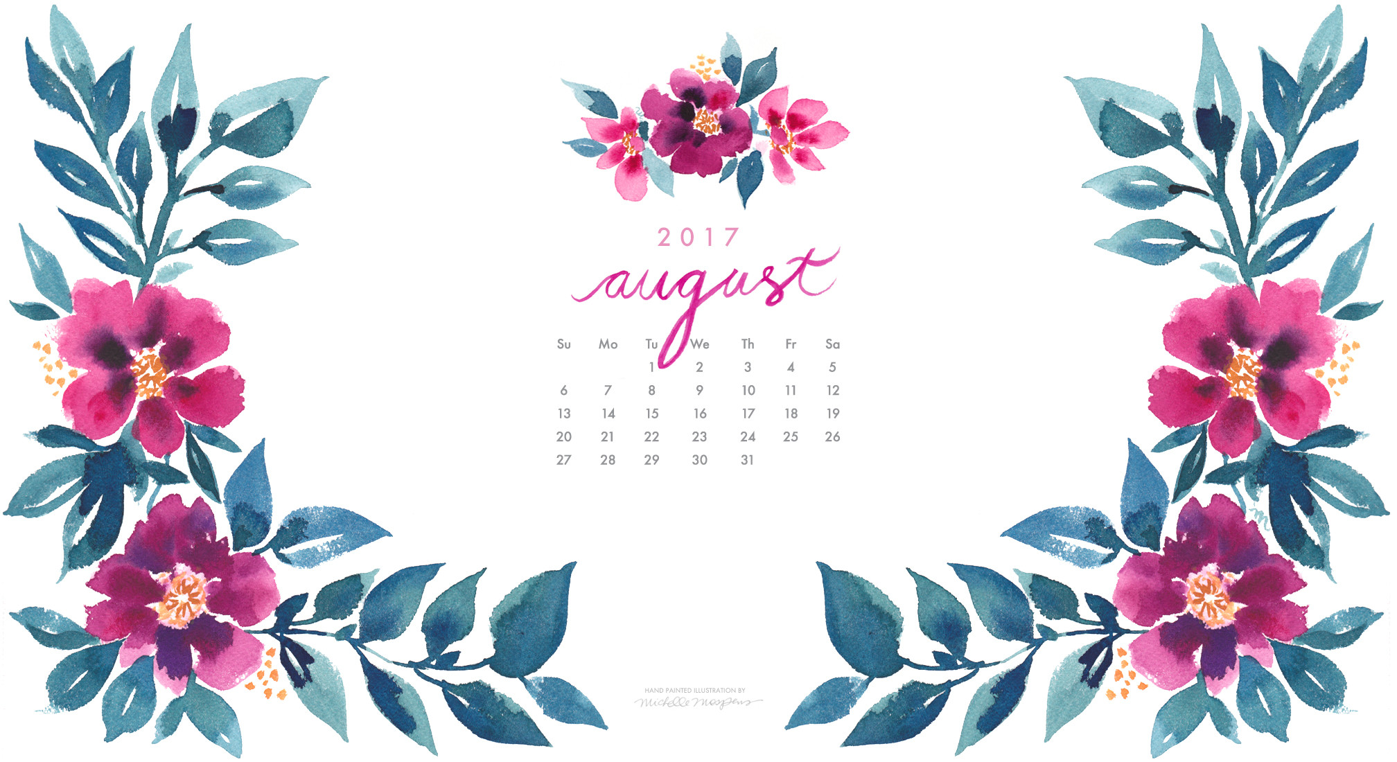 2016x1100 Pretty posy watercolor August 2017 calendar wallpaper for your computer.  100% original art by