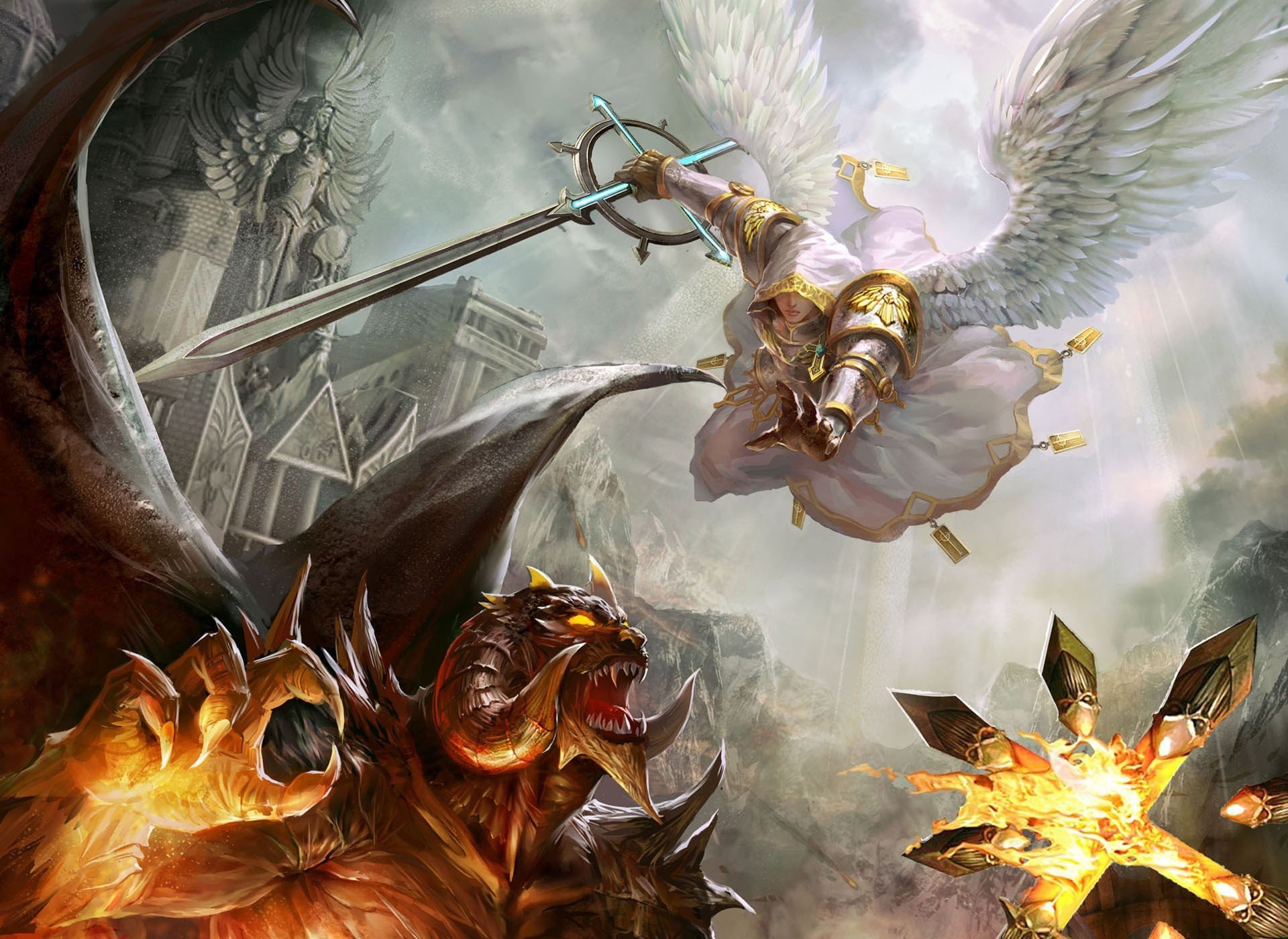 1920x1400 Angels Artwork Battles Demons Devil Fight Fire Good Vs Evil Heroes Of Might  And Magic V Swords Video Games Weapons Wings