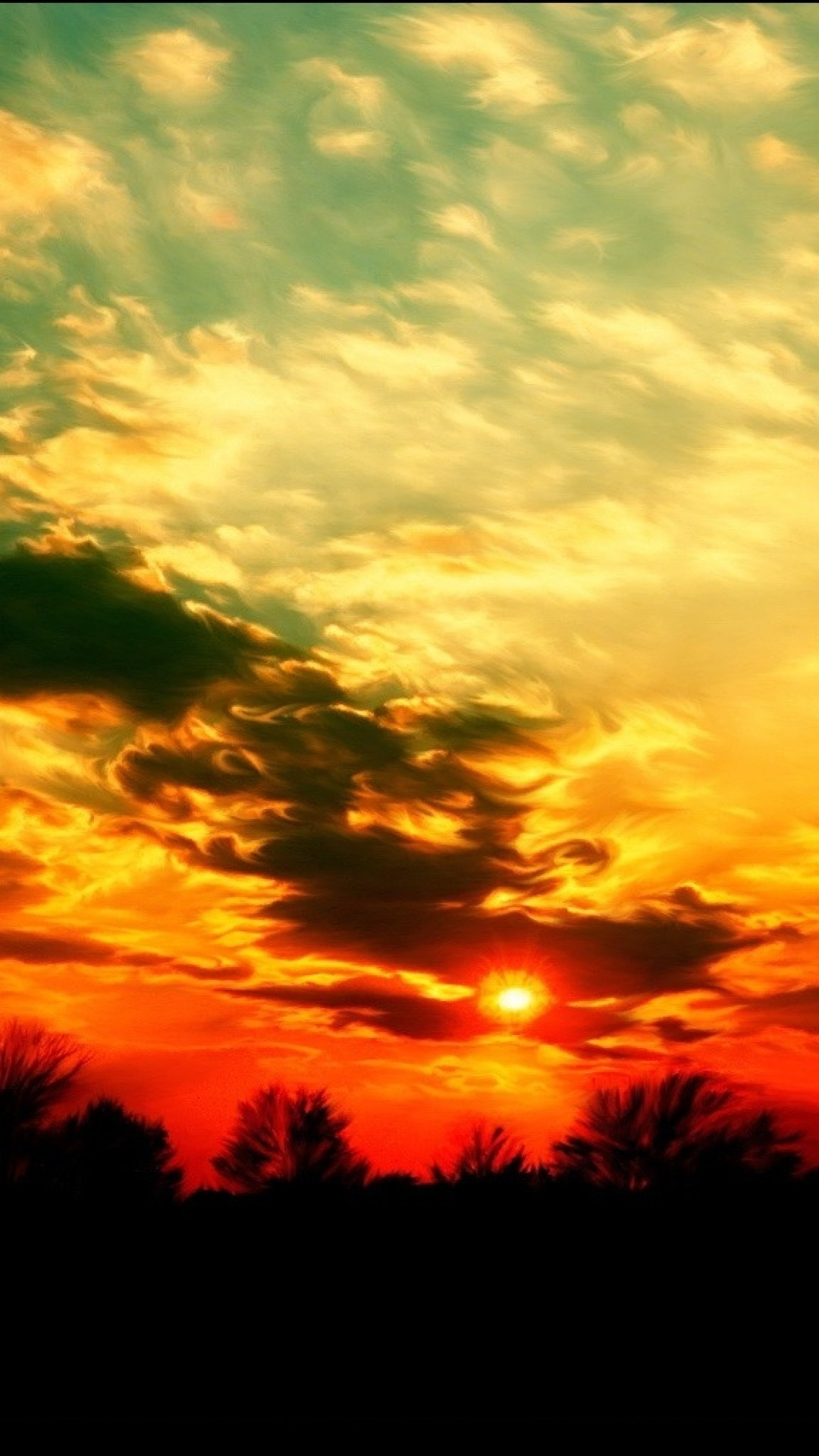 1080x1920  Wallpaper sky, sun, decline, colors, blue, yellow, orange