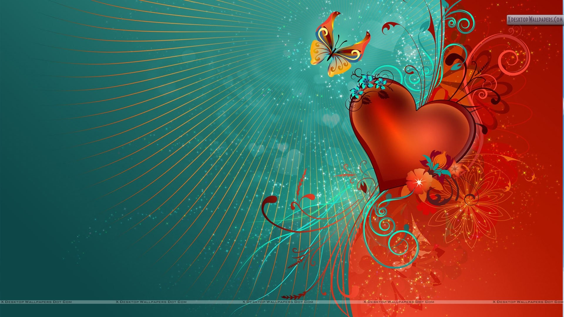 1920x1080 Valentines Day Artistic Wallpaper Red Heart And Butterfly