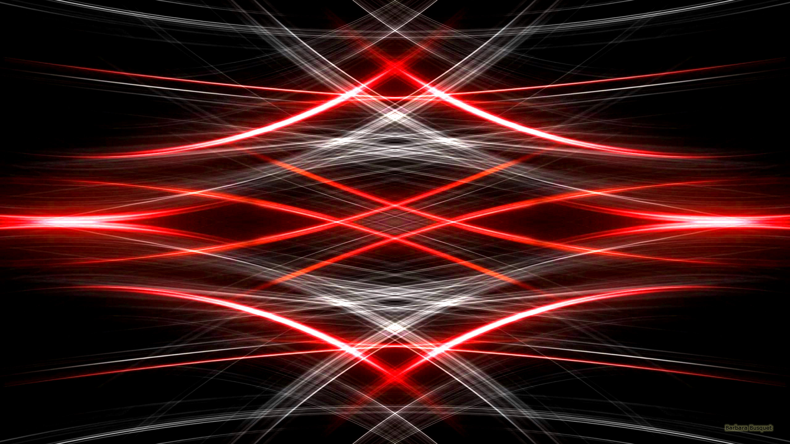 2560x1440 Black abstract wallpaper with red and white lights. The lines are mirrored.