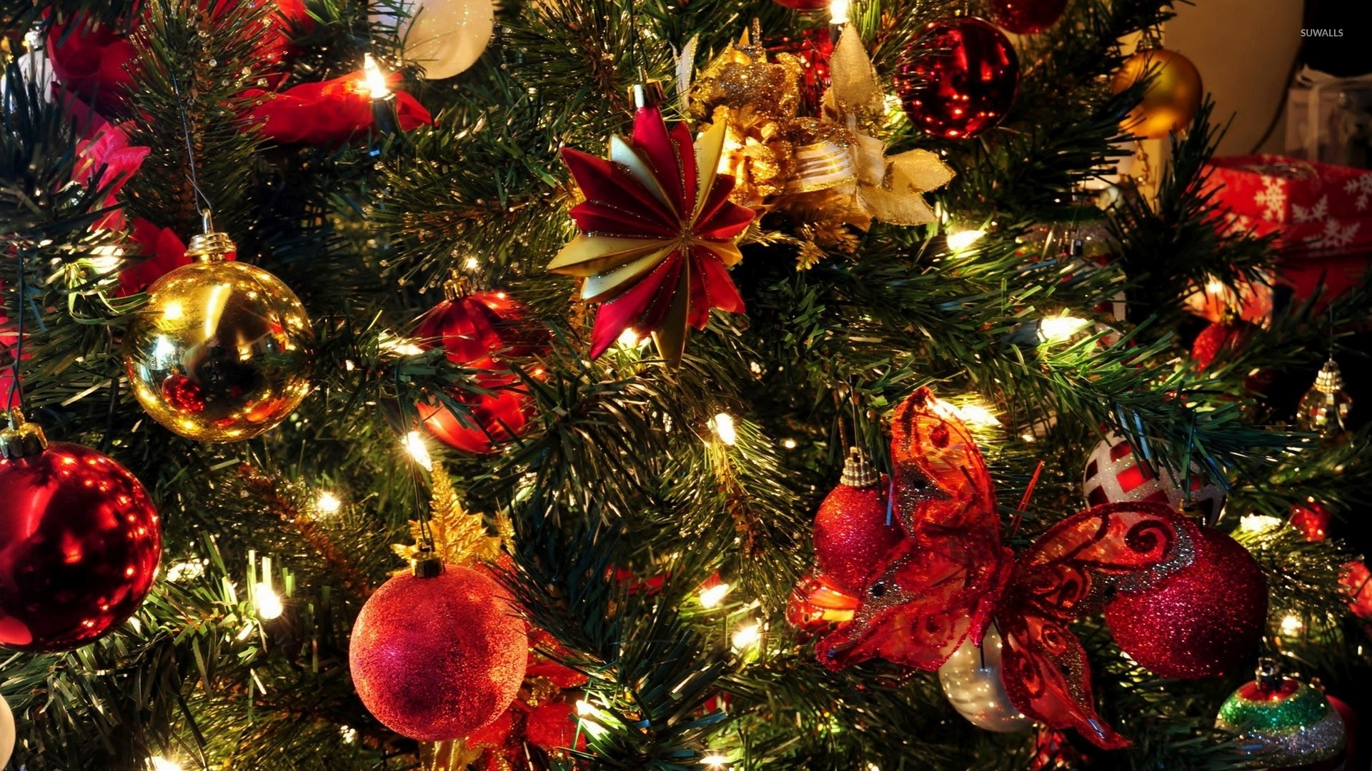 1920x1080 Christmas tree with red and golden baubles wallpaper  jpg