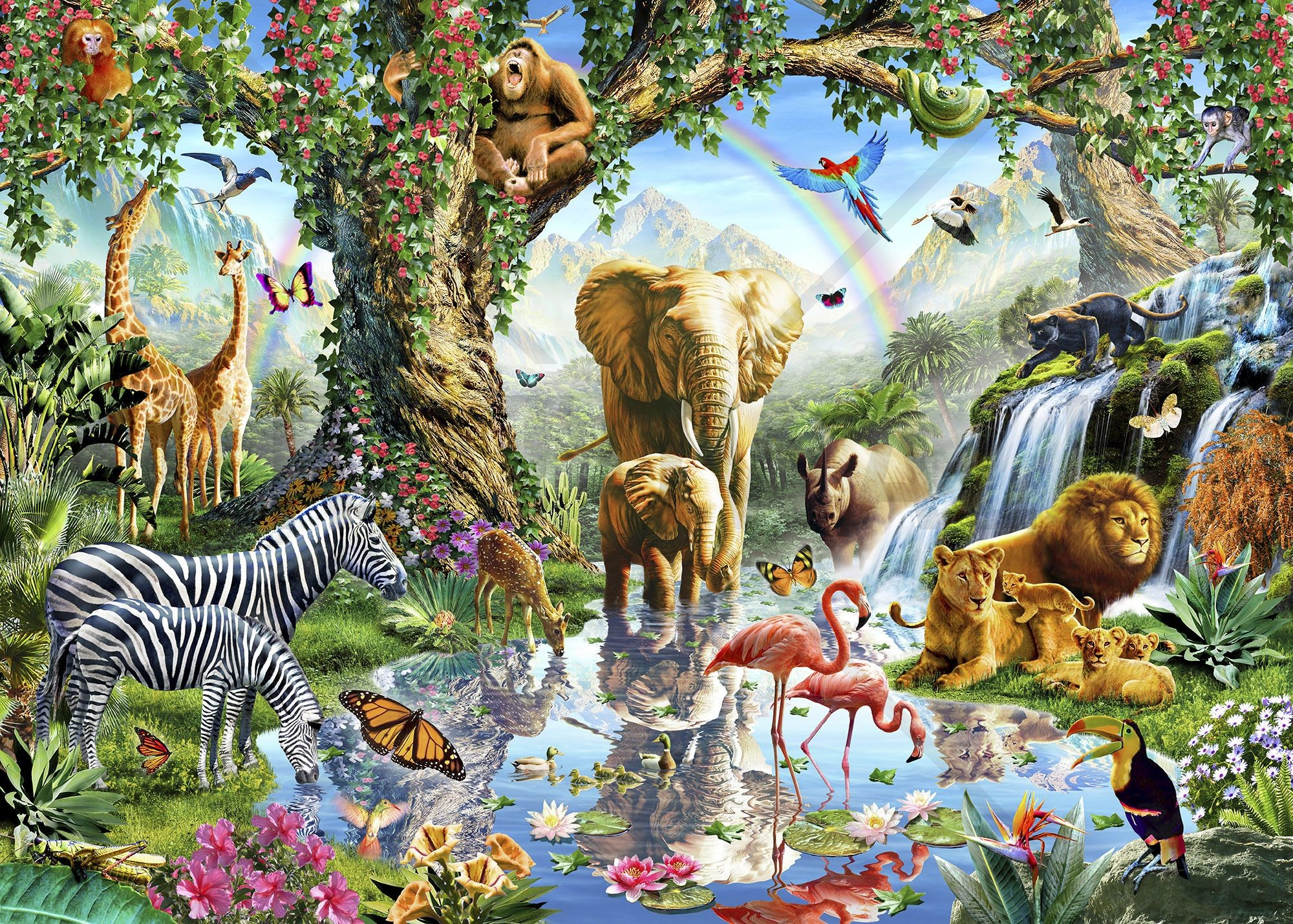 2000x1429 Jungle Lake with wild Animals - Wall Mural & Photo Wallpaper - Photowall