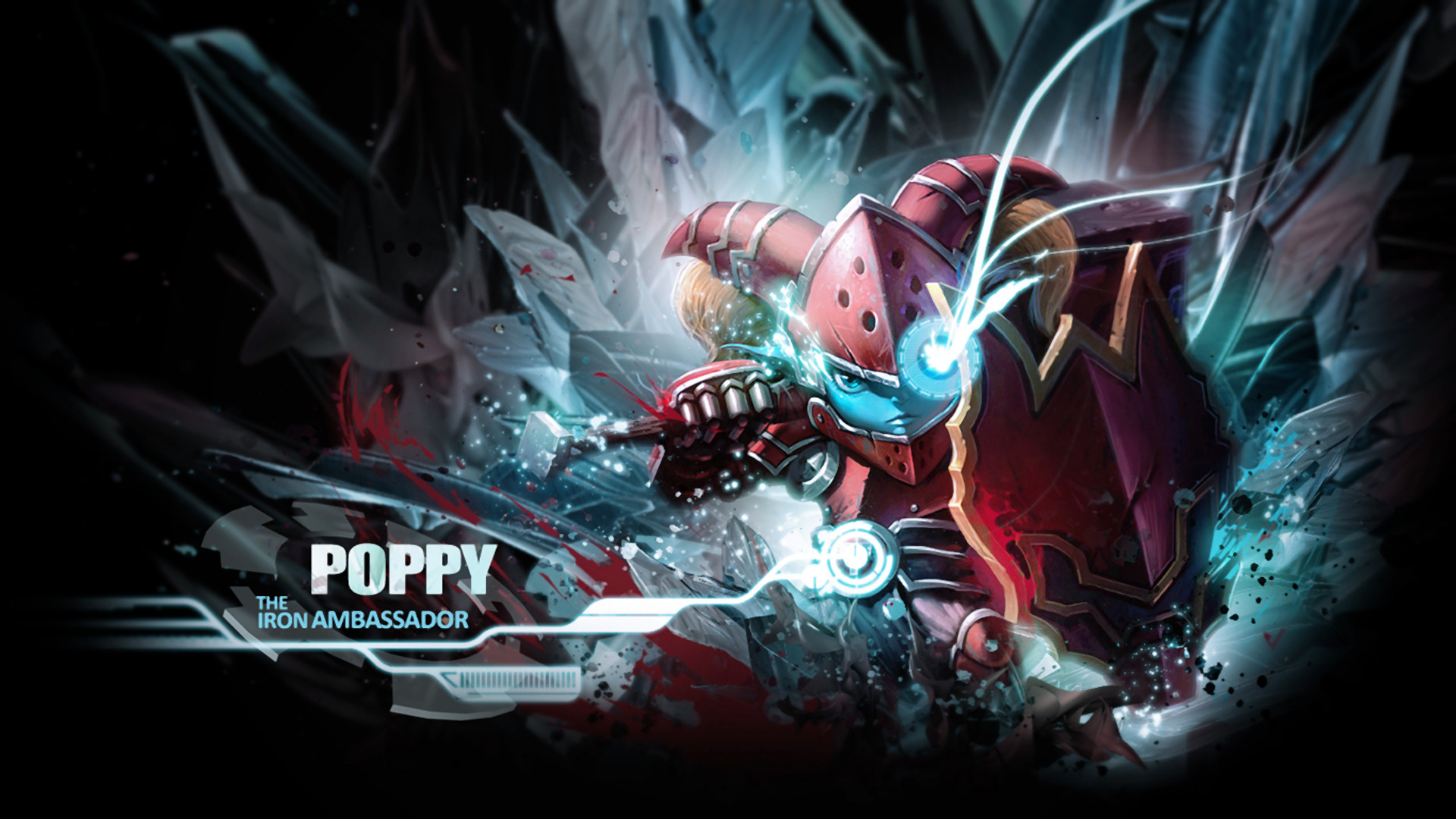 1920x1080 scarlet hammer poppy skin art girl league of legends game hd wallpaper