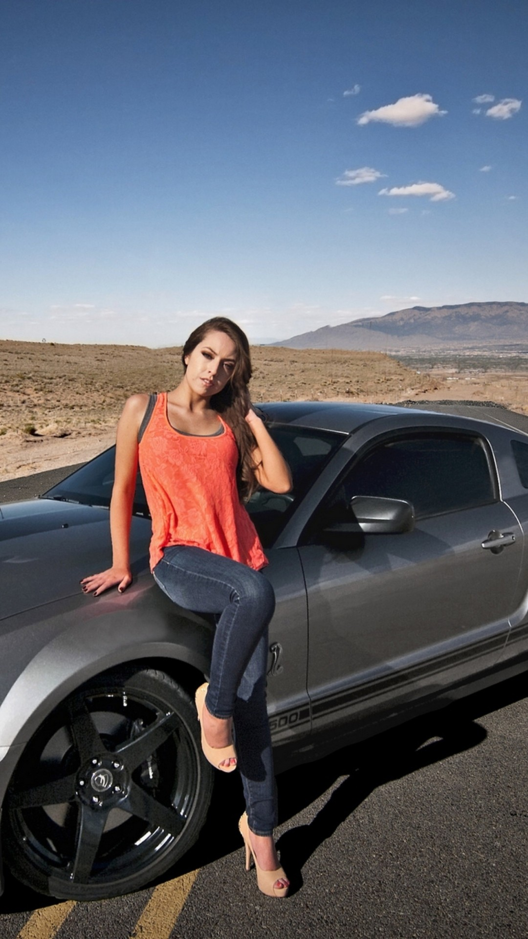 1080x1920 Download hot girl sitting on ford mustang