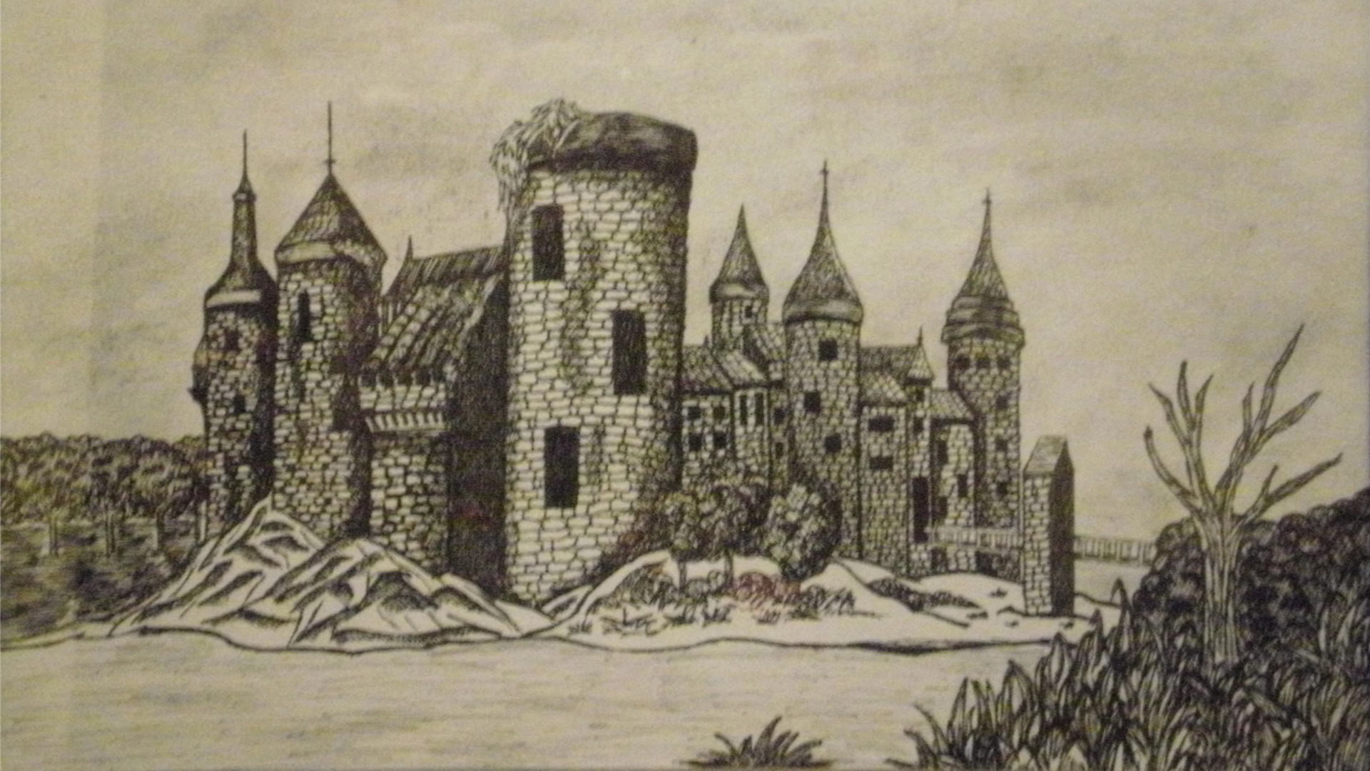 1920x1080 Medieval Castle Drawing Wallpaper