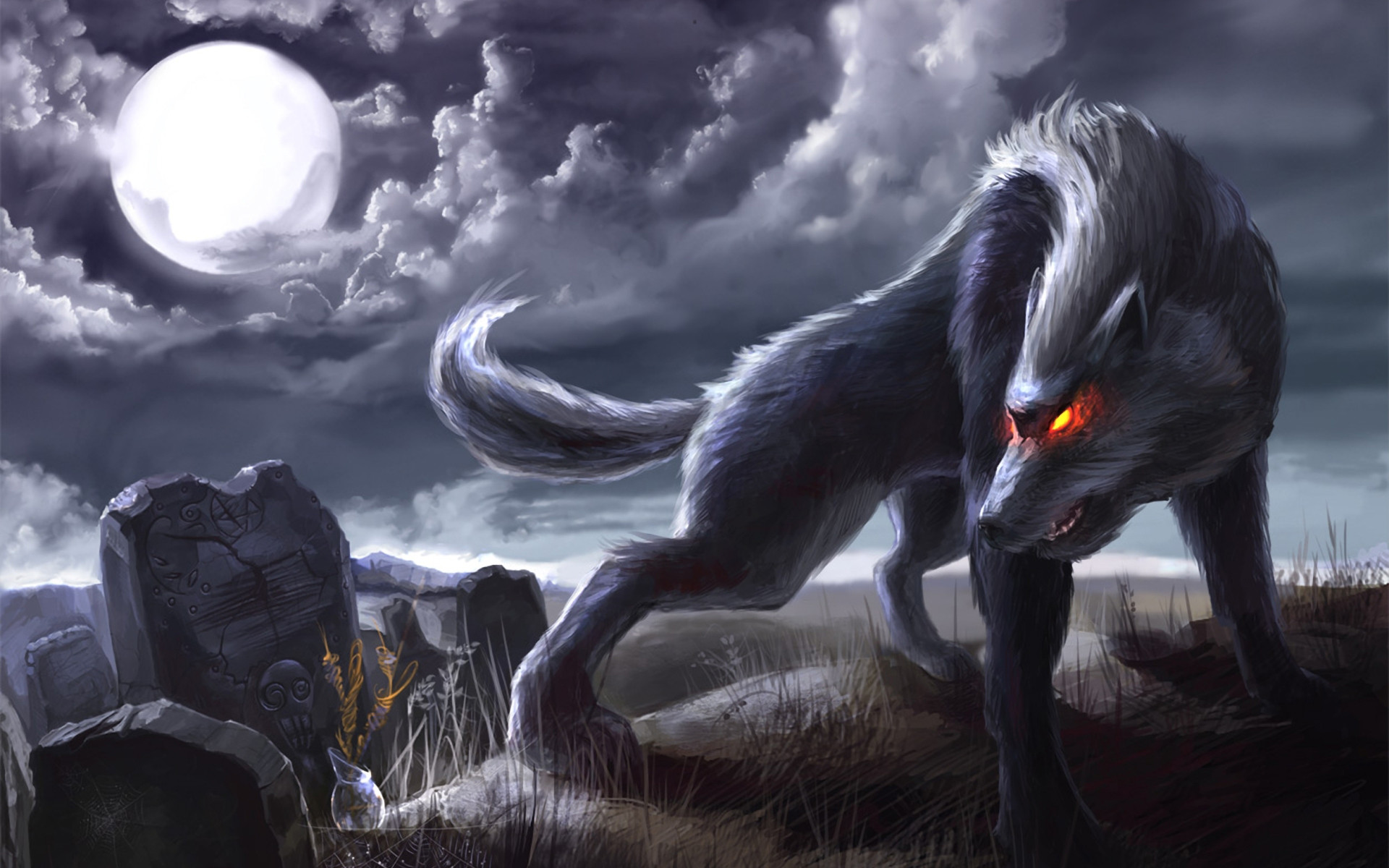1920x1200 Wolf Moon Desktop HD Wallpaper | Animals Wallpapers
