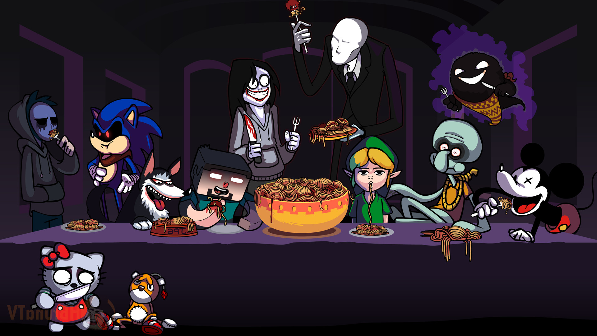 1920x1080 video Game Characters, Mickey Mouse, Ghast, Link, Sonic The Hedgehog,  Spaghetti