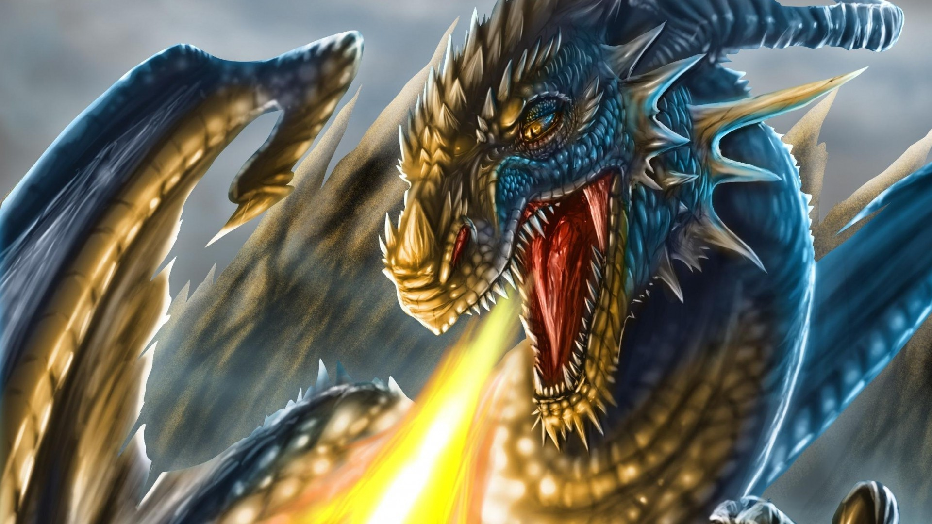 1920x1080 fantasy Art, Dragon, Face, Head, Fire, Teeth, Scales, Wings, Dragon Wings  Wallpapers HD / Desktop and Mobile Backgrounds