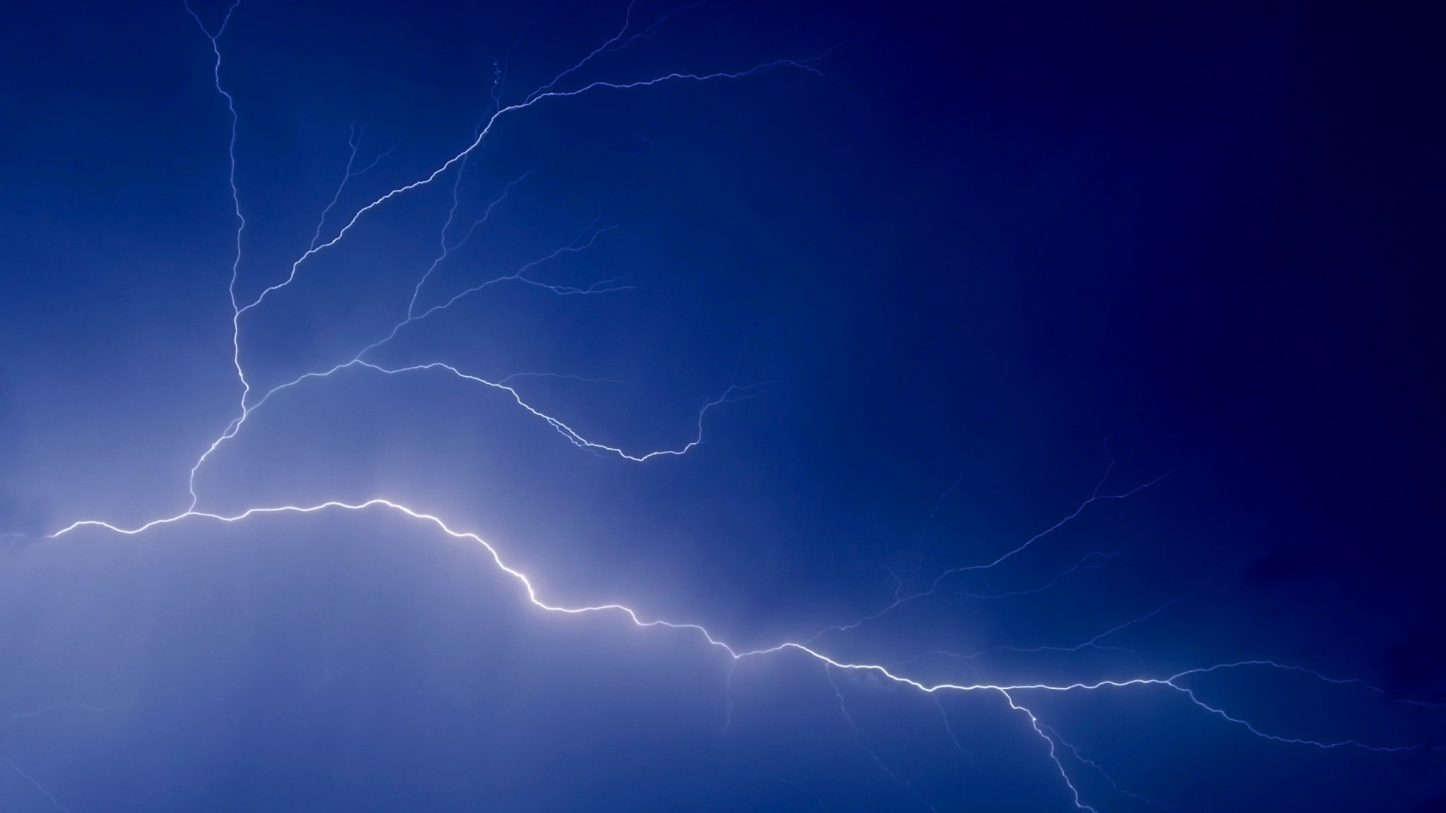 2048x1152  Wallpaper sky, lightning, peal, lines, dark blue, electricity