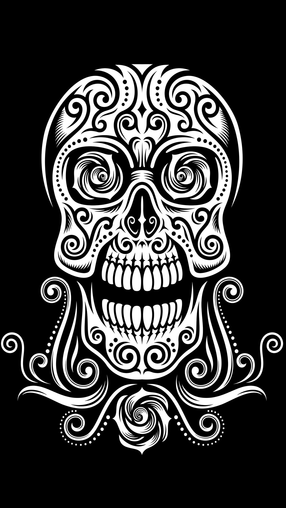 1080x1920 Download Preview Tribal Skull Wallpaper
