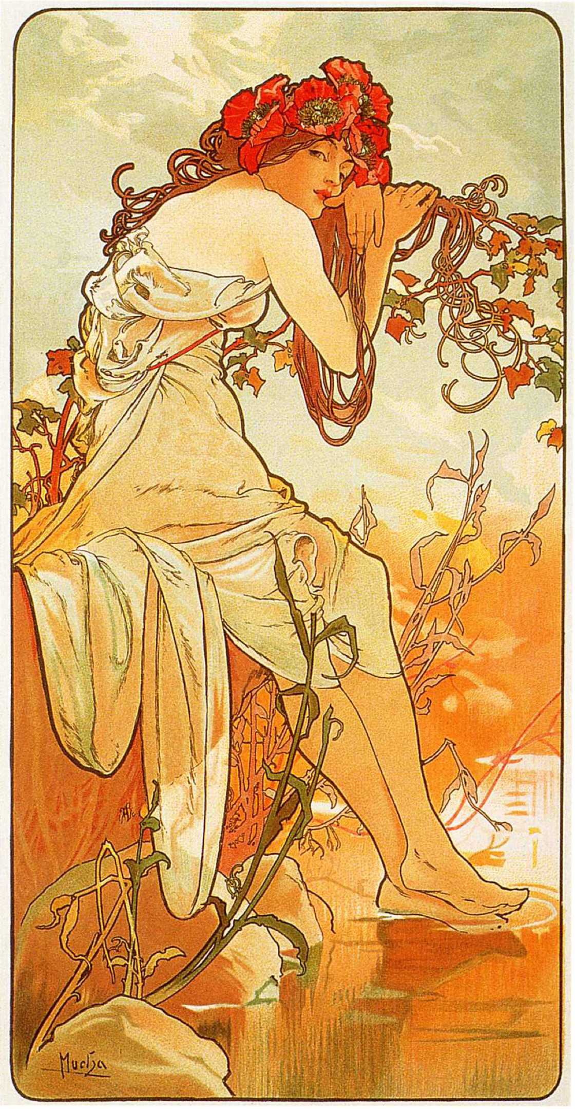 1120x2158 The Seasons Summer - Alphonse Mucha Wallpaper Image
