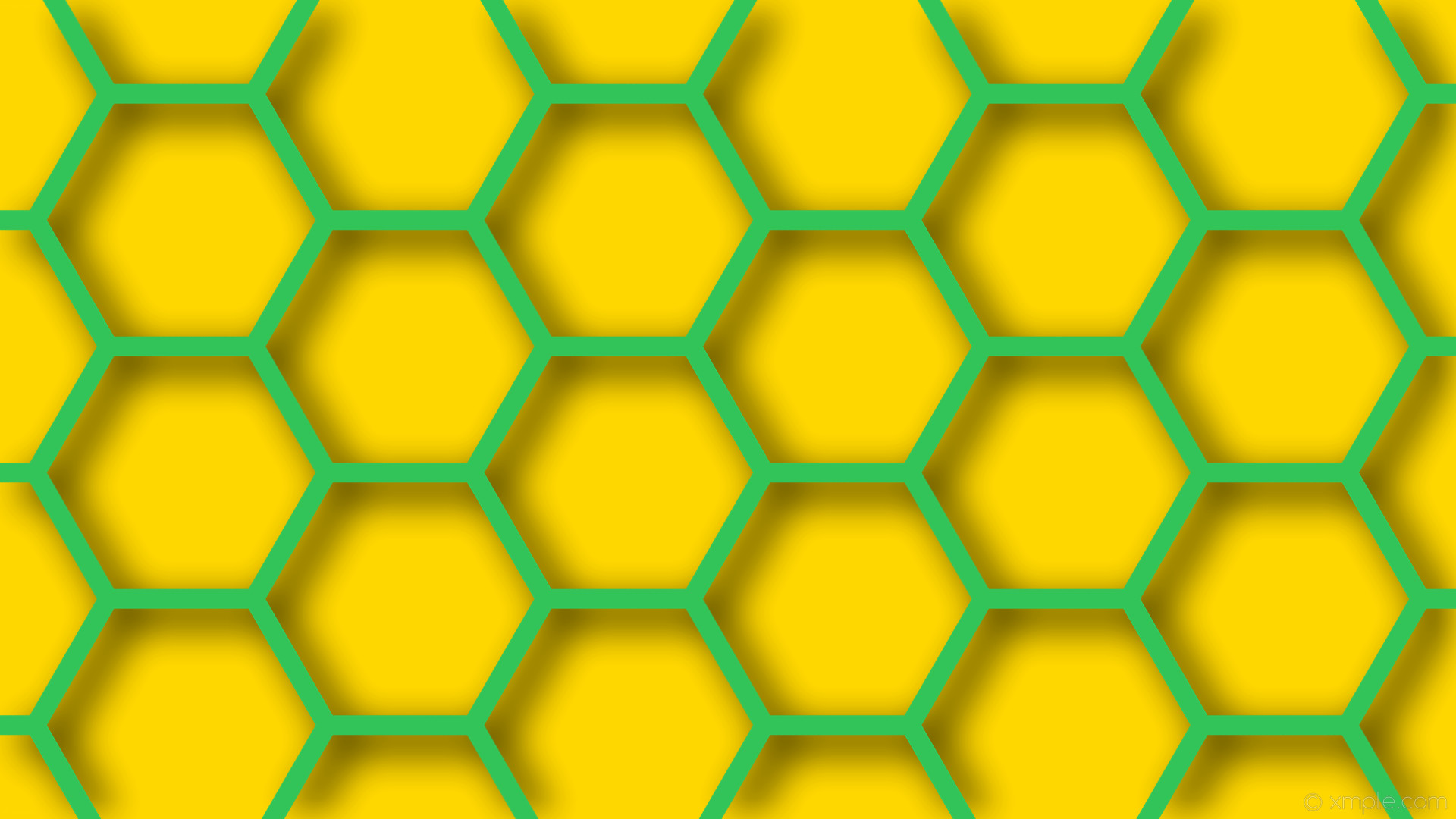 1920x1080 wallpaper hexagon turquoise beehive drop shadow yellow gold #32c359 #ffd700  120° 26px 333px