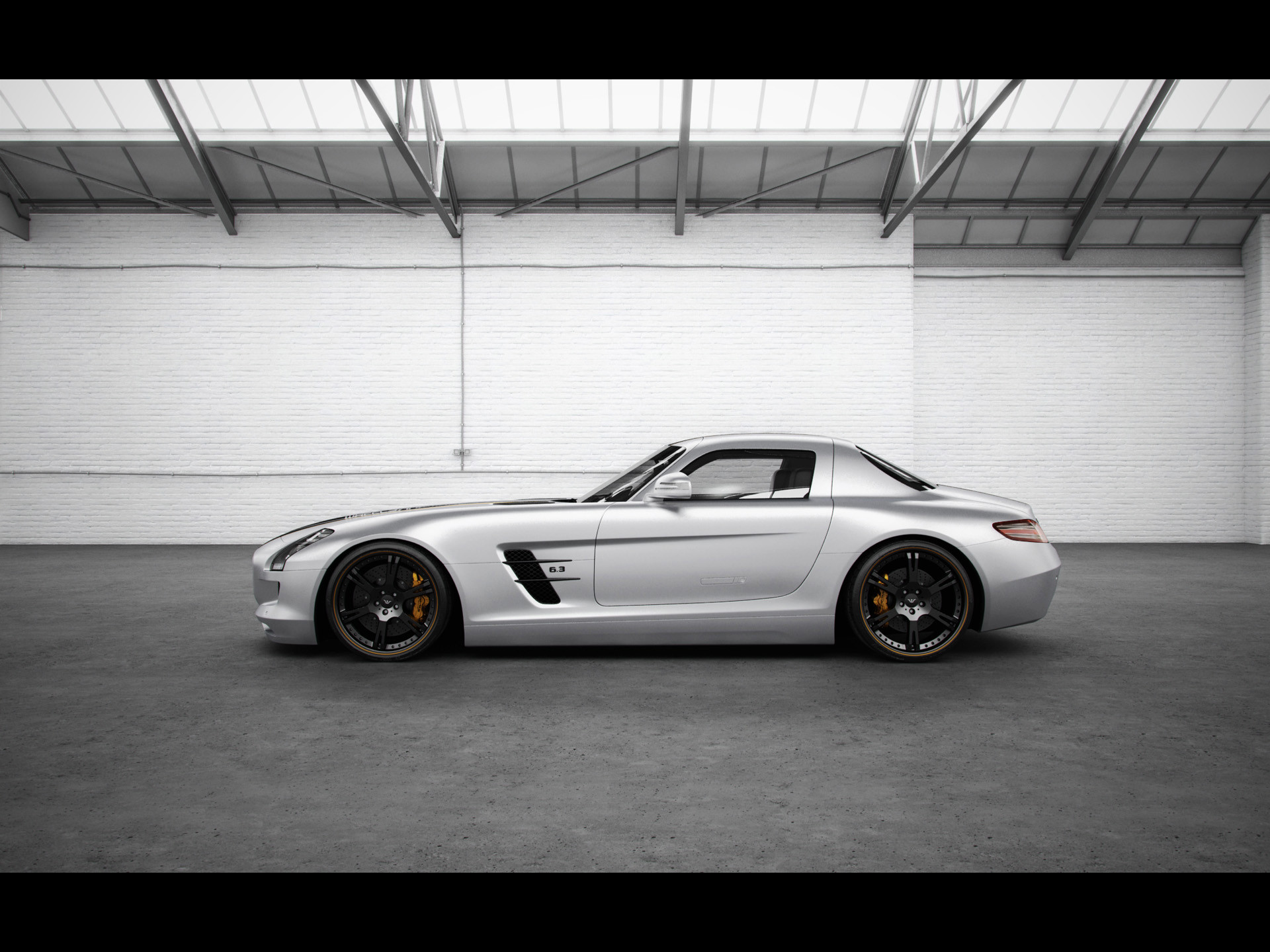 1920x1440 2012 Wheelsandmore Mercedes-Benz SLS AMG Silver Wing - Side -  -  Wallpaper