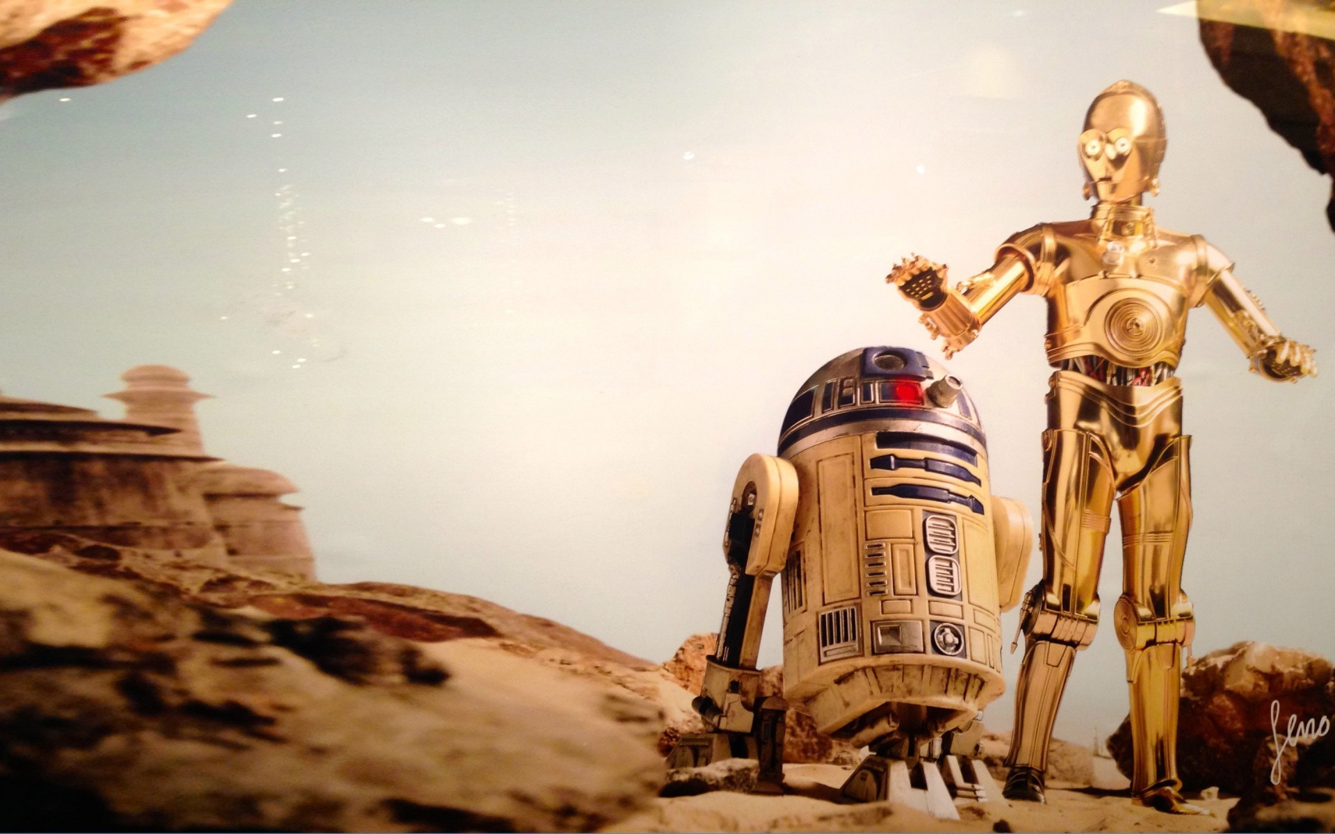R2d2 And C3po Desert C3Po and R2D2 Wallpape...