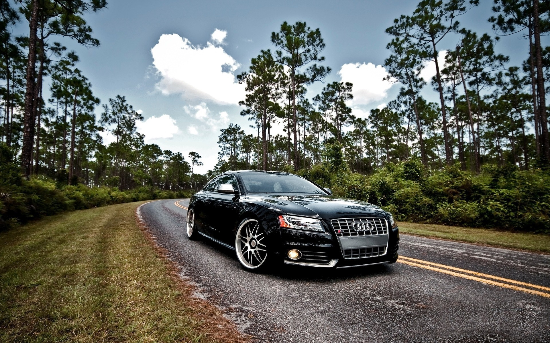 1920x1200 Luxury black Audi S5 on the highway in the woods
